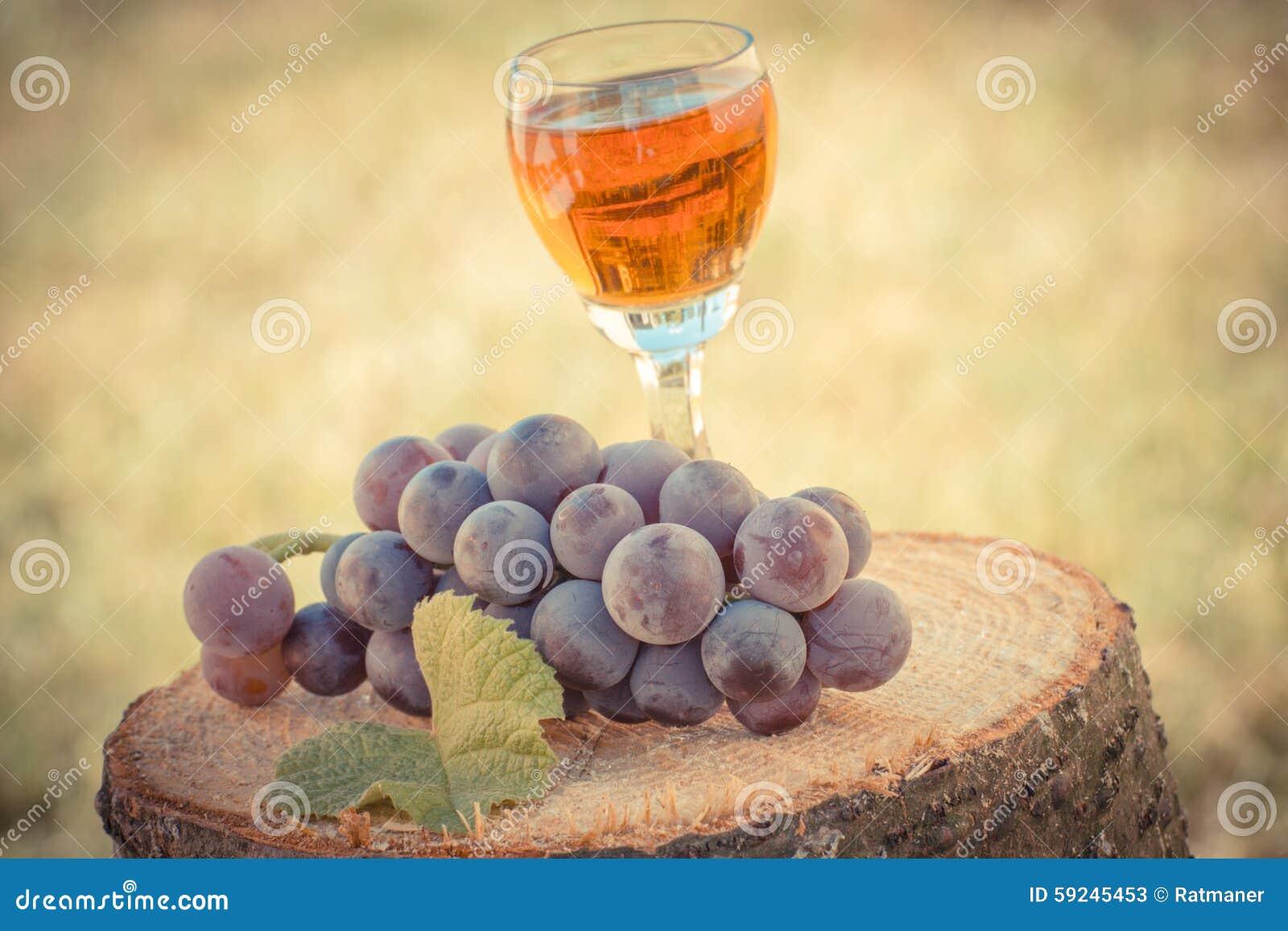 Foto del vintage, uvas con la hoja y vidrio de vino en tocón de madera en jardín
