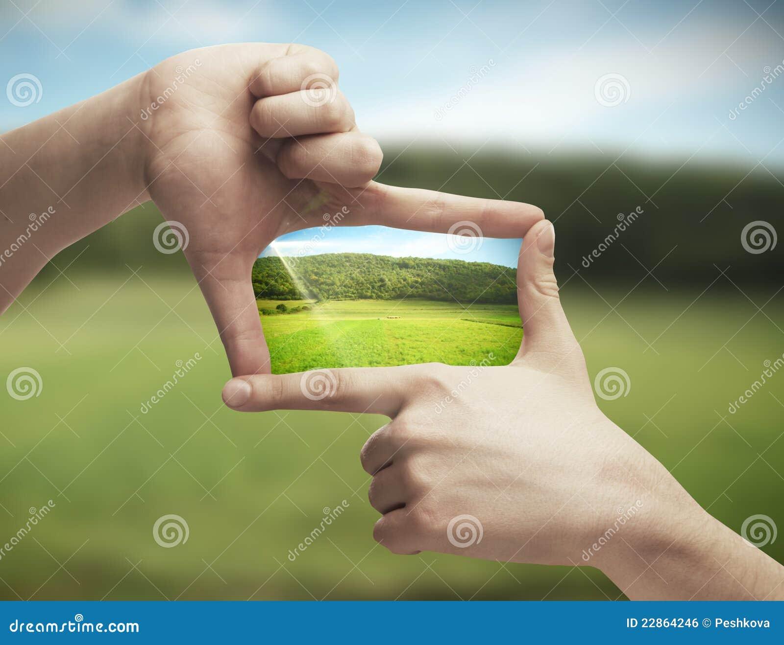 Foto des grünen Feldes in den Händen
