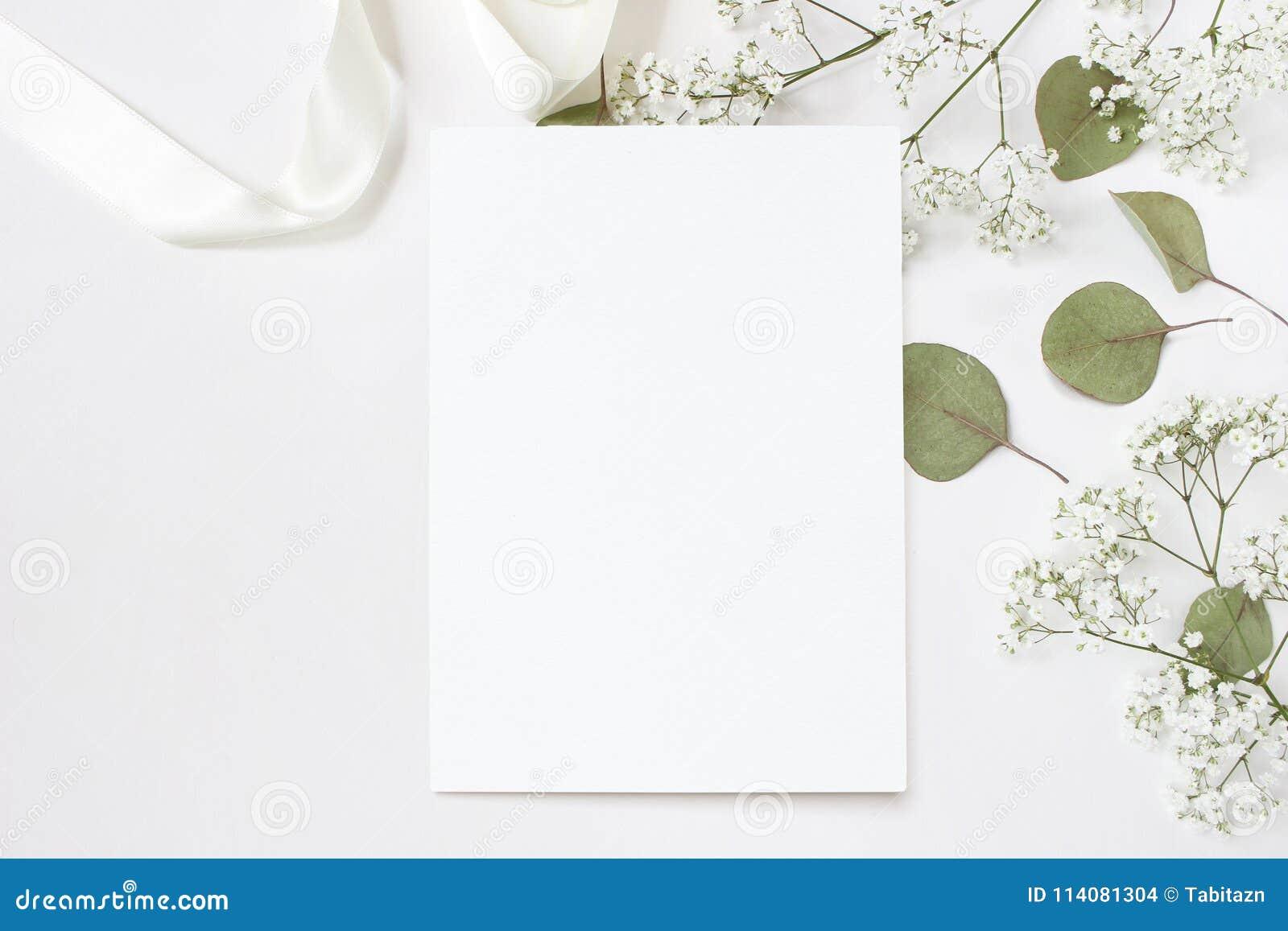 Foto di riserva disegnata Modello da tavolino della cancelleria di nozze femminili con la cartolina d auguri in bianco, Gypsophil