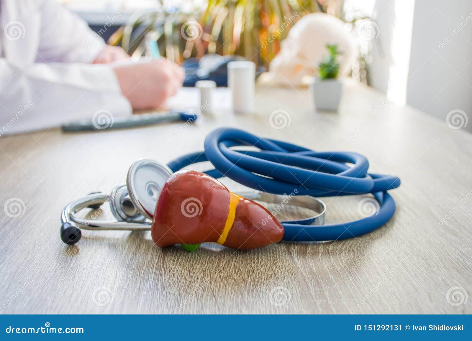 Foto do conceito do diagnóstico e do tratamento do fígado No primeiro plano está o modelo da vesícula biliar do fígado perto do e