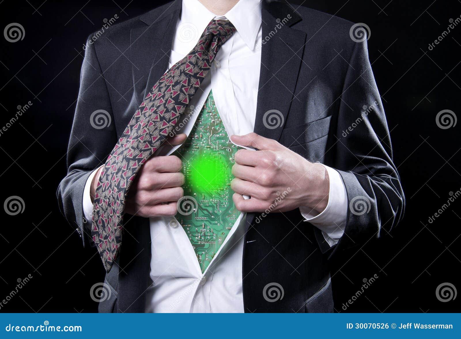 O homem de negócios Bionic incandesce