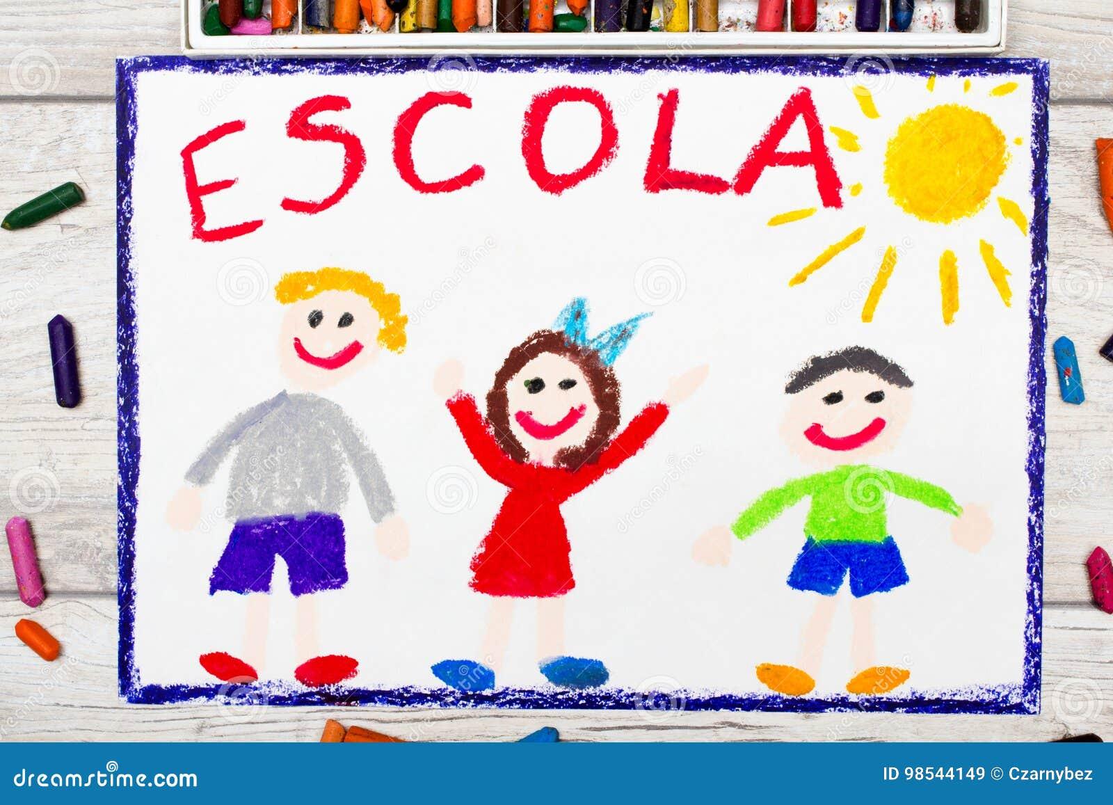 Foto Do Desenho Colorido Escola Portuguesa Da Palavra Ilustracao