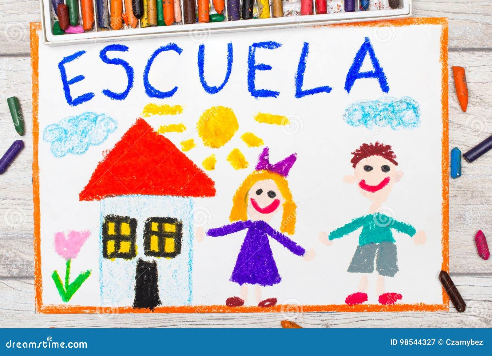 Foto do desenho colorido: Palavra espanhola ESCOLA