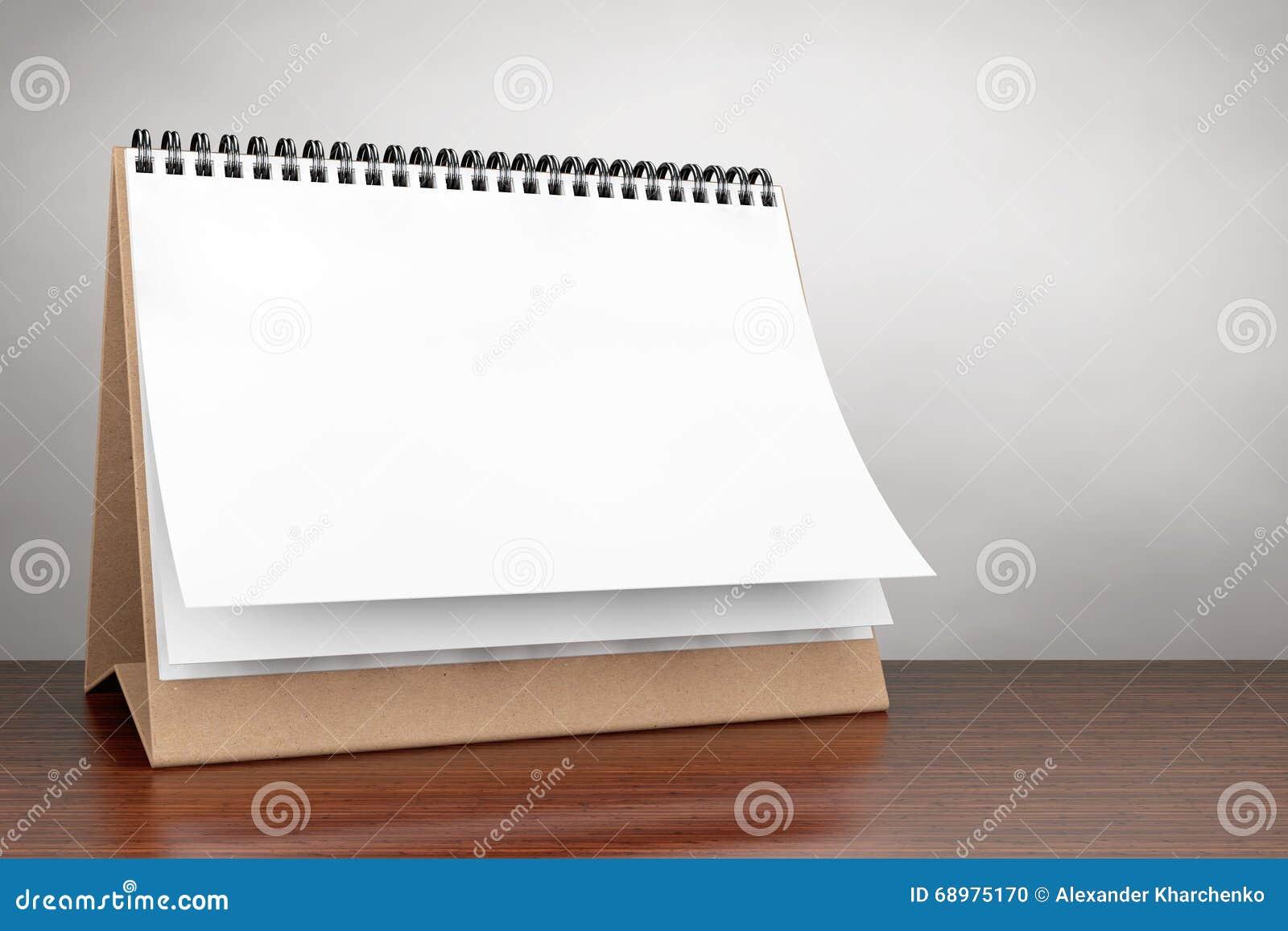 Foto do estilo velho Calendário da espiral da mesa do papel vazio