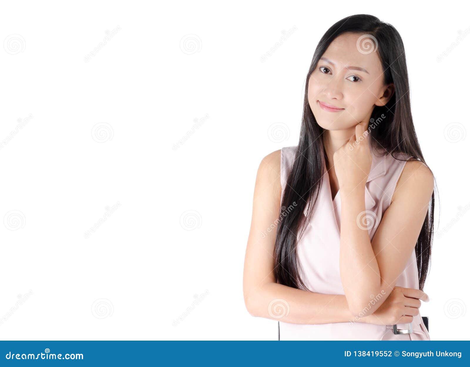 Foto do retrato da mulher asiática com a cara feliz da expressão