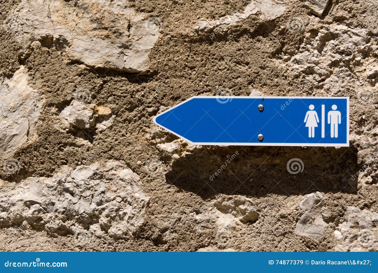 Foto do sinal do toalete
