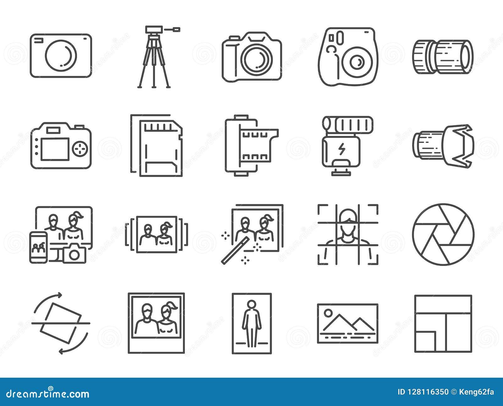 Foto en camera de reeks van het lijnpictogram Inbegrepen pictogrammen als beeld, beeld, galerij, album, polaroid en meer