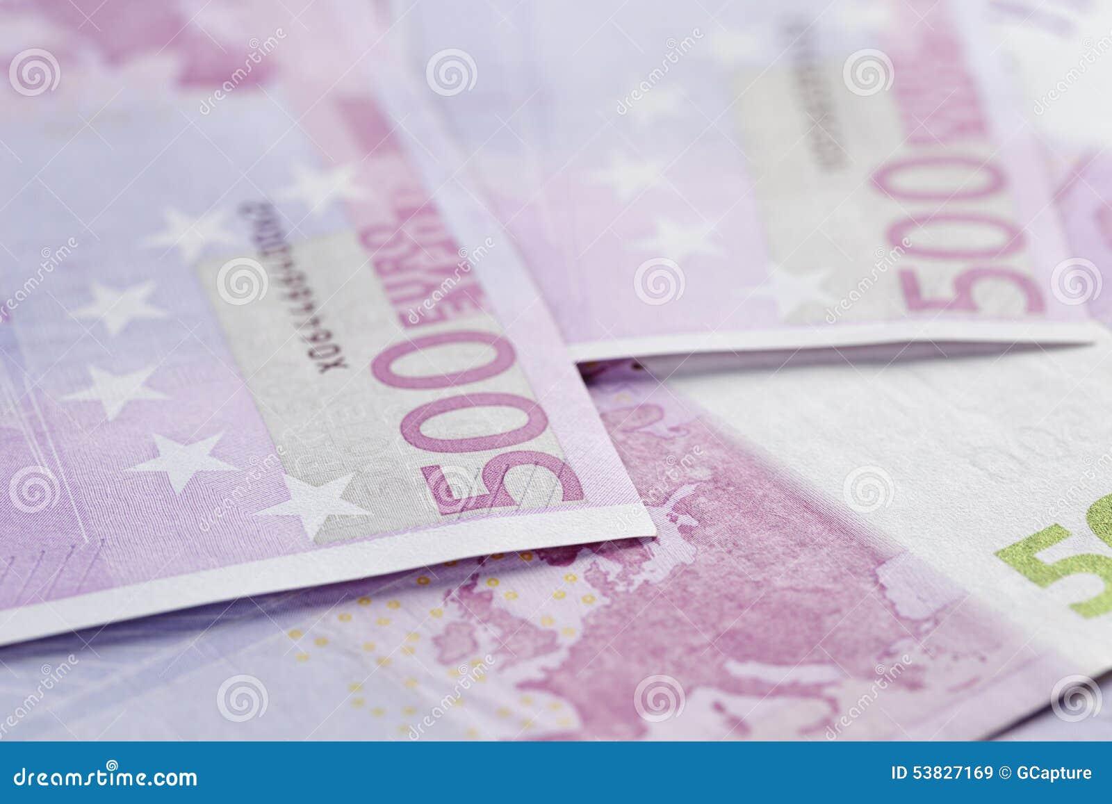 Foto för closeup för bakgrund för 500 euroanmärkningar
