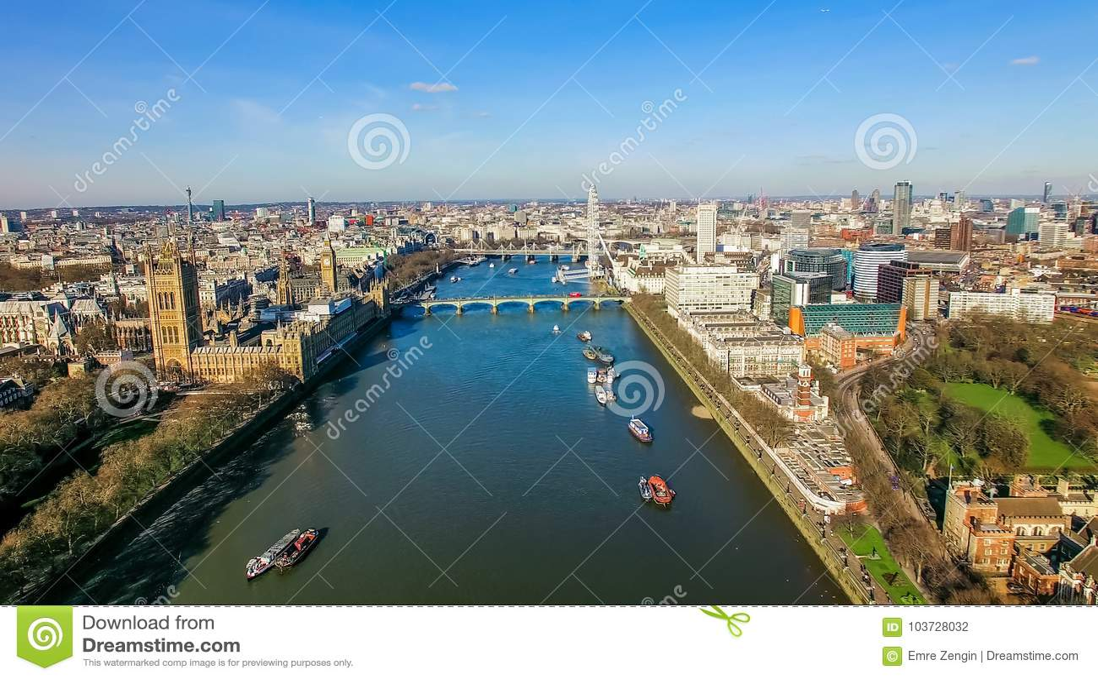 Foto för flyg- sikt av det stora Ben Parliament Famous Landmark och London ögat