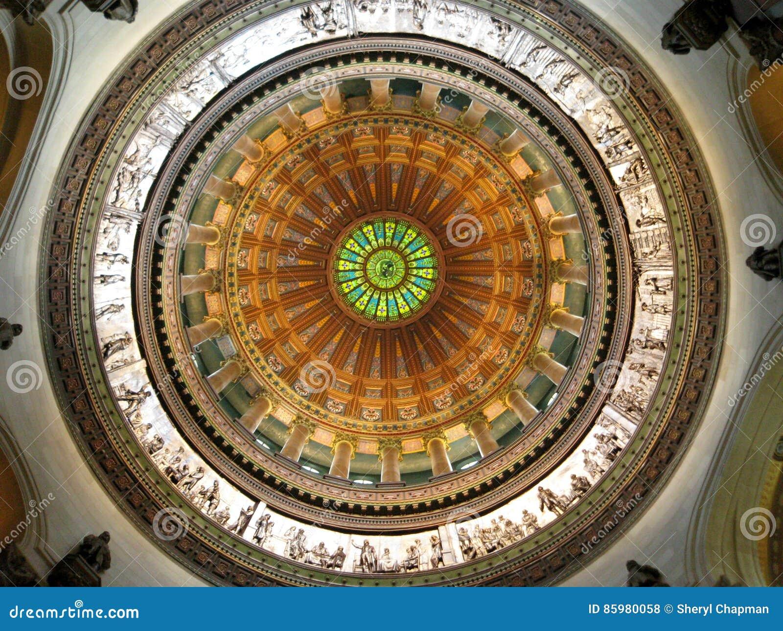 """Foto: """"Interior van de Koepel, Rotonde, het Capitool van de Staat van Illinois, Springfield, Illinois†"""