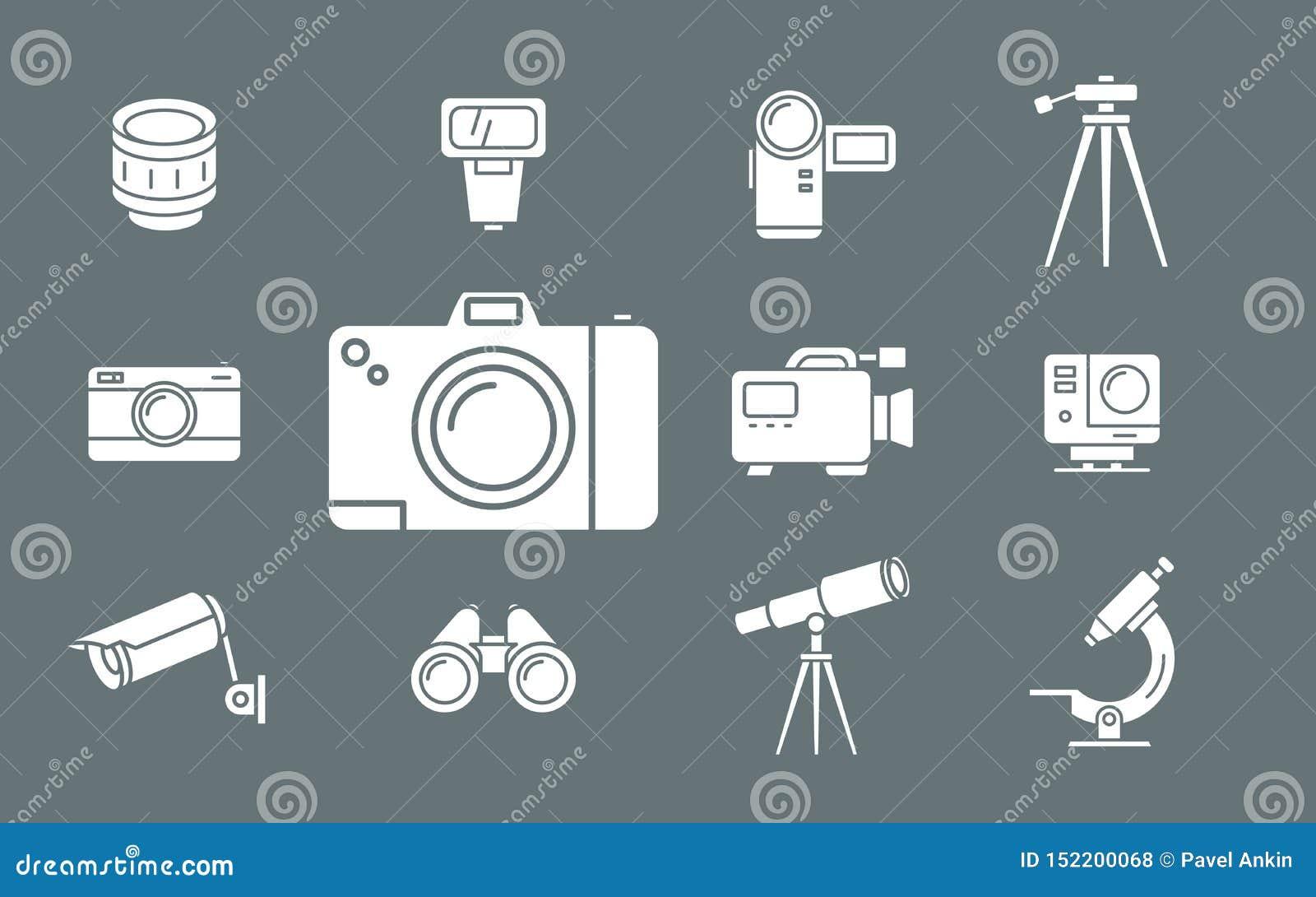 Foto- och för videoutrustning symboler - ställ in rengöringsduk och mobil 02