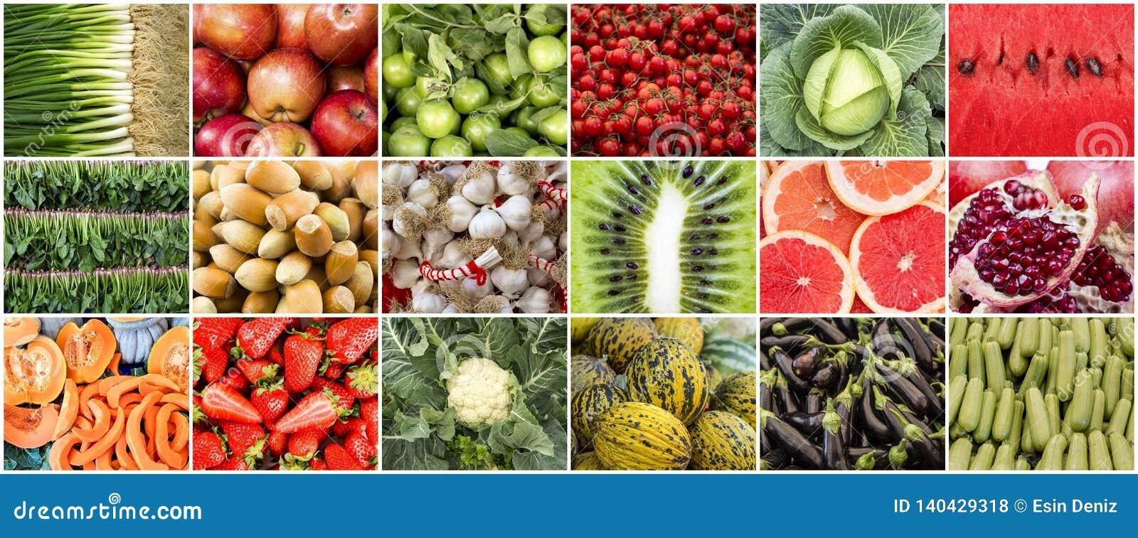 Foto orgânica fresca da colagem das frutas e legumes