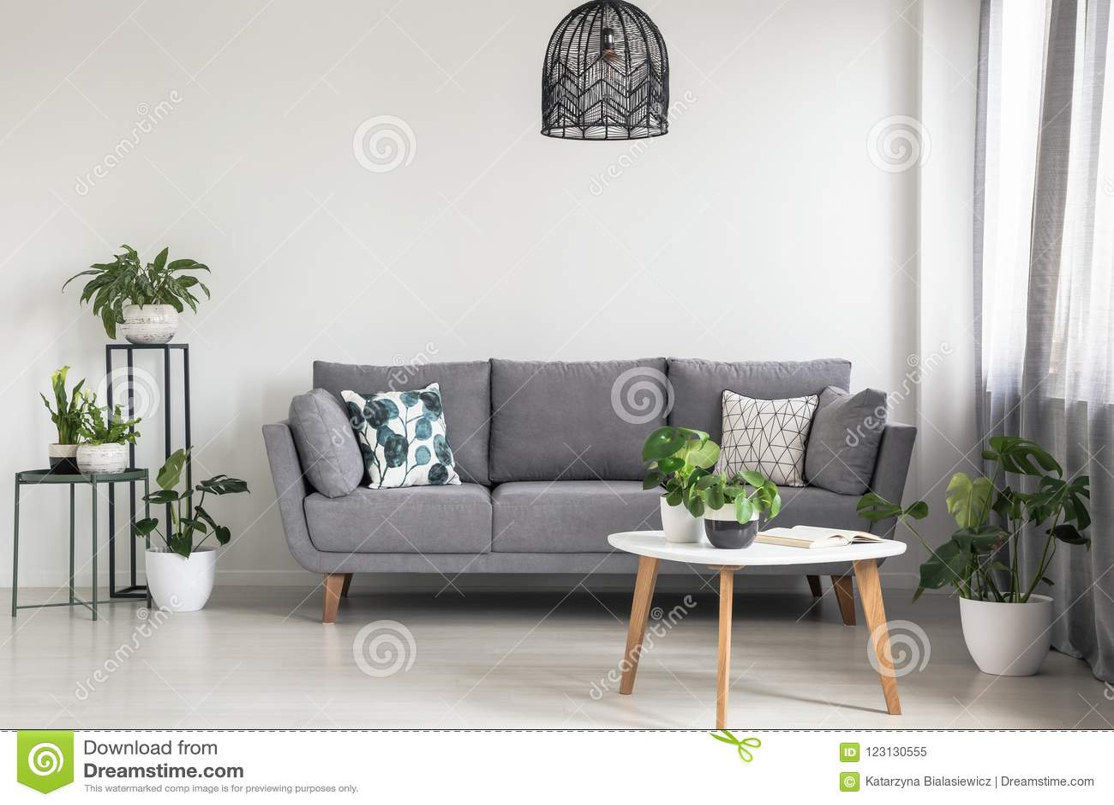 Foto reale di un interno semplice del salone con un sofà grigio, le piante ed il tavolino da salotto