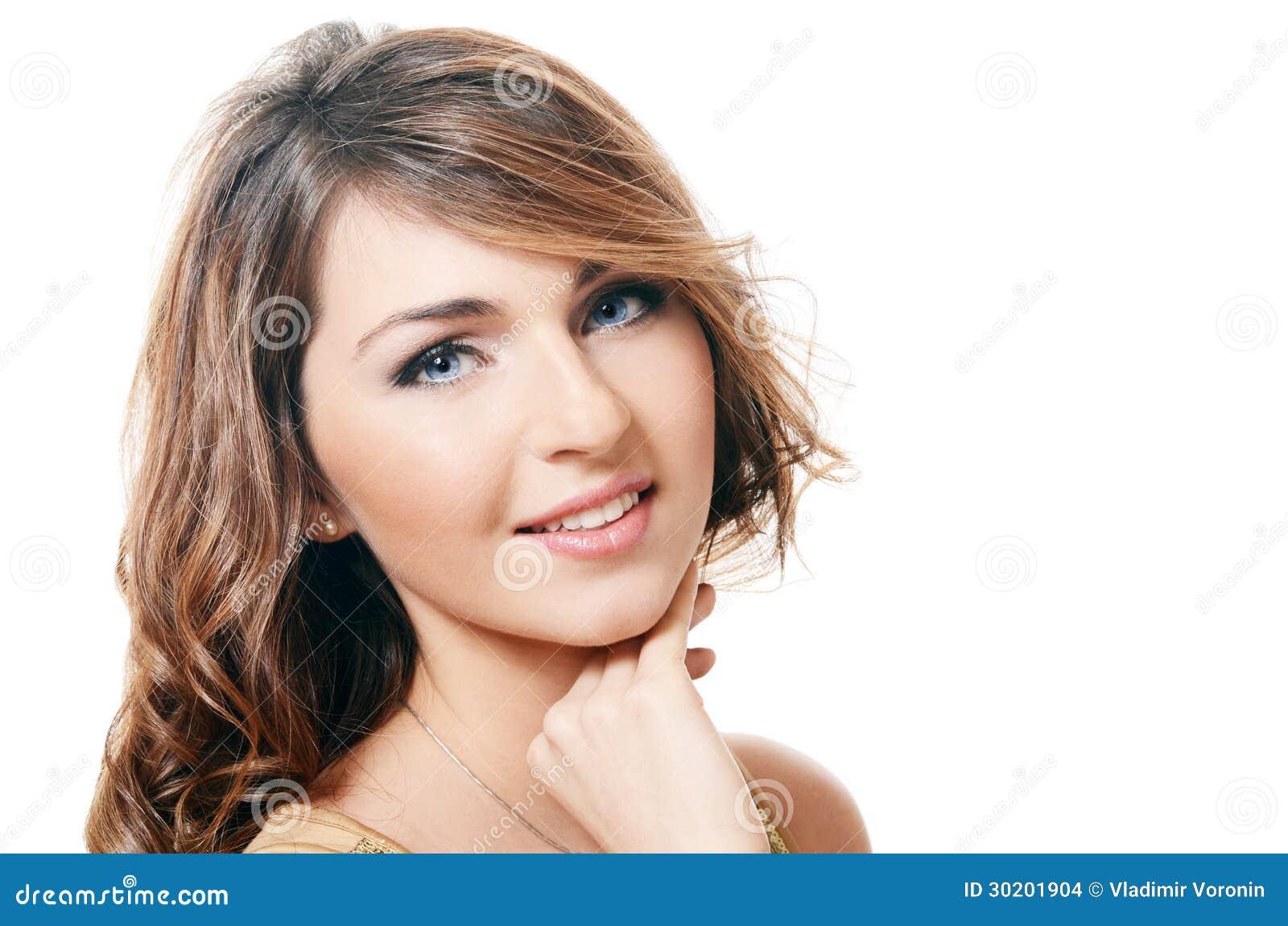 Foto van de mooie sensuele vrouw met lange hair.isolated op witte achtergrond