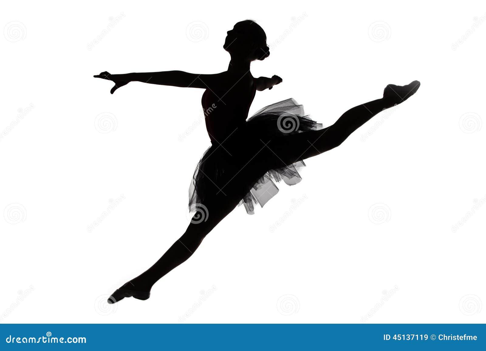 Foto van jonge ballerina in sprong