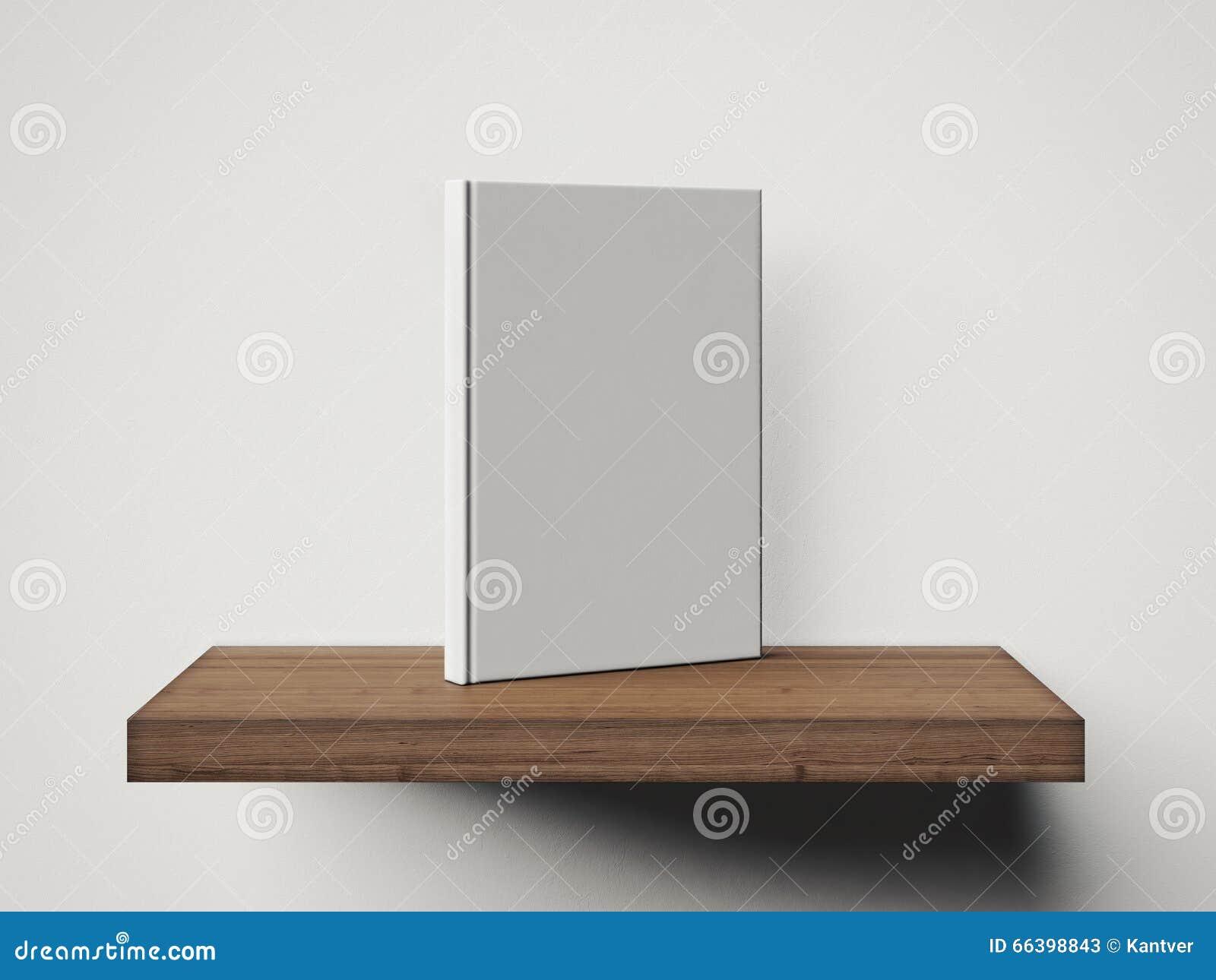 Foto van leeg wit boek op de houten plank 3d geef terug