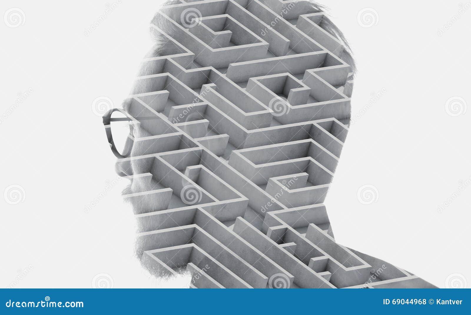 Foto van modieuze gebaarde glazen dragen en advocaat die stad kijken Dubbele blootstelling, labyrintachtergrond Geïsoleerd wit ho