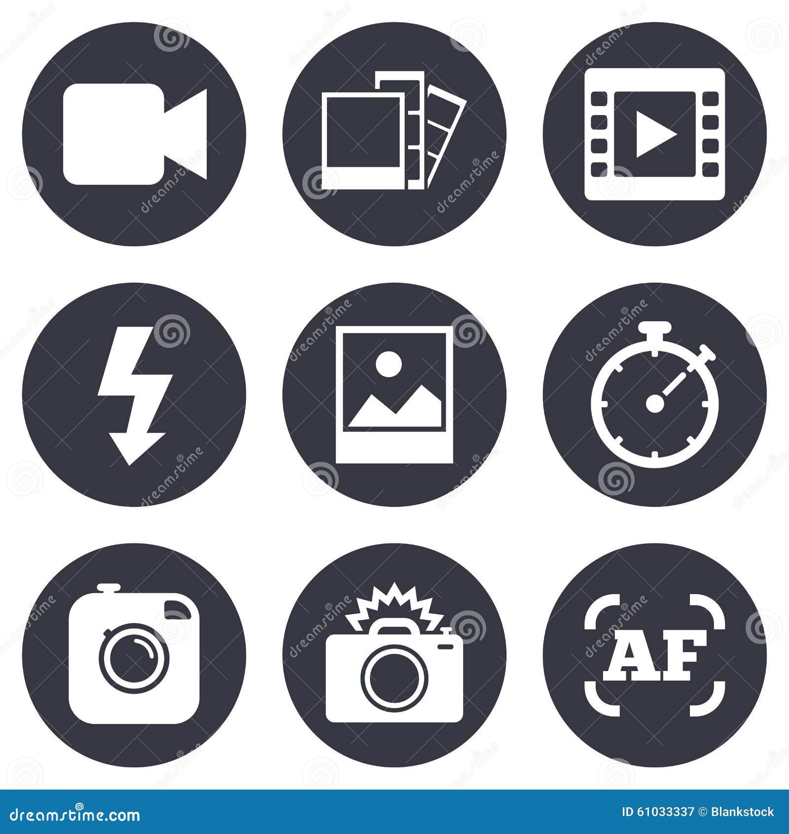 Foto, videopictogrammen Camera, foto s en kader