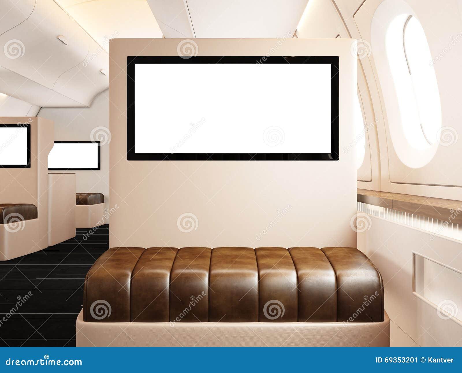 Fotobinnenland van privé vliegtuig Lege leerstoel Het lege digitale scherm klaar voor uw informatie Luxestraal