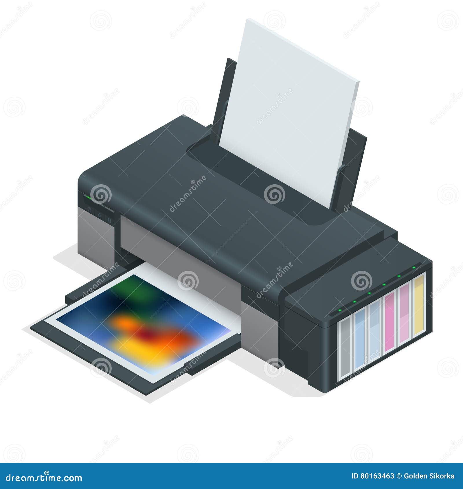 Fotobläckstråleskrivare Färgskrivaren skrivar ut fotoet på vit isolerad bakgrund Fyra tomma påfyllbara kassetter