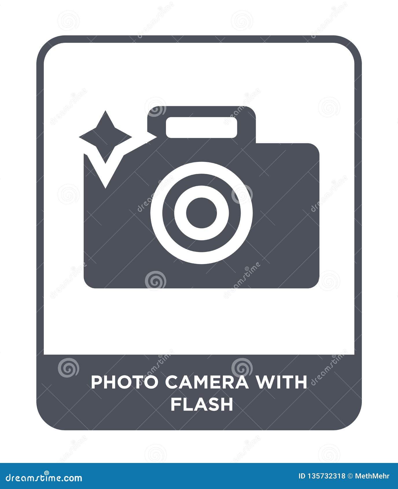 Fotocamera met flitspictogram in in ontwerpstijl fotocamera met flitspictogram op witte achtergrond wordt geïsoleerd die fotocame