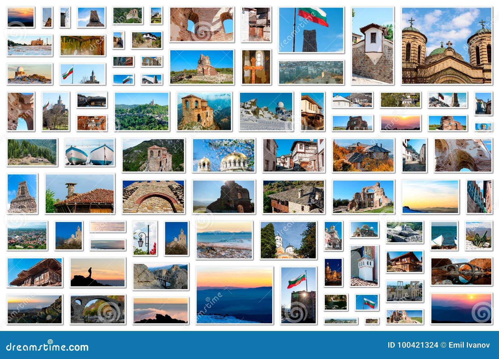 Fotocollage - raster av bilder från Bulgarien