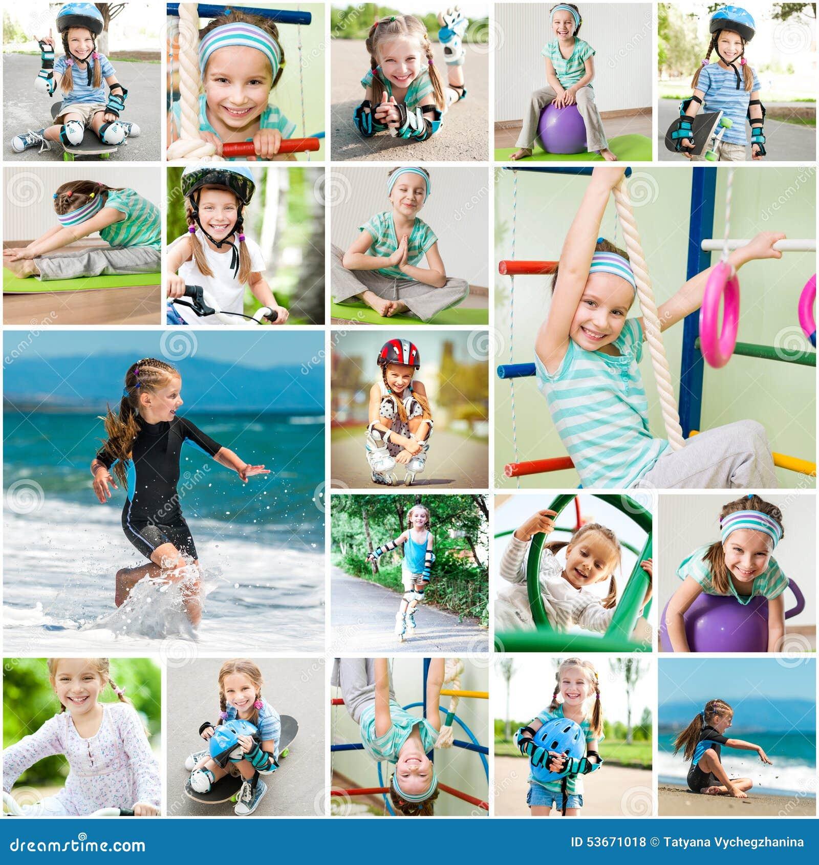 Fotocollage van wat meisje het spelen sporten
