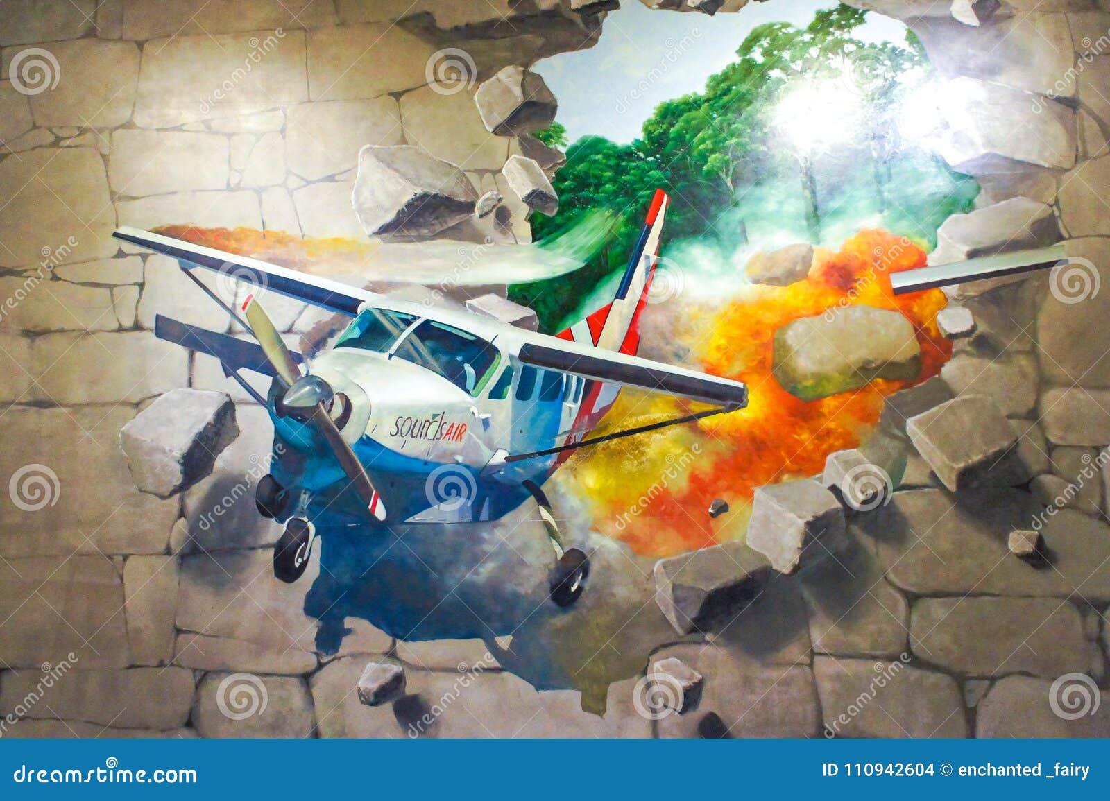 Fotoet av målning för väggen 3D av det fallande flygplanet körde ut ur stentegelstenväggen