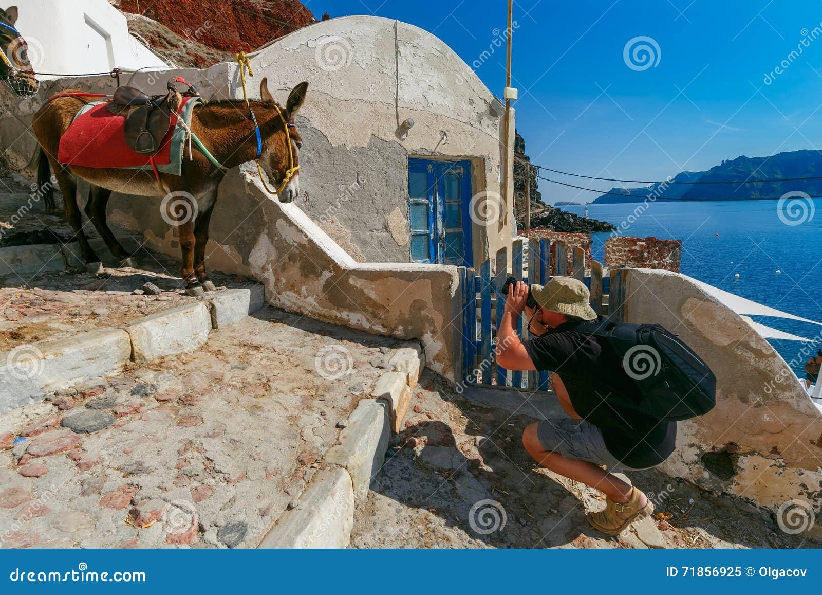 Fotograf nimmt Bildesel, Oia, Santorini