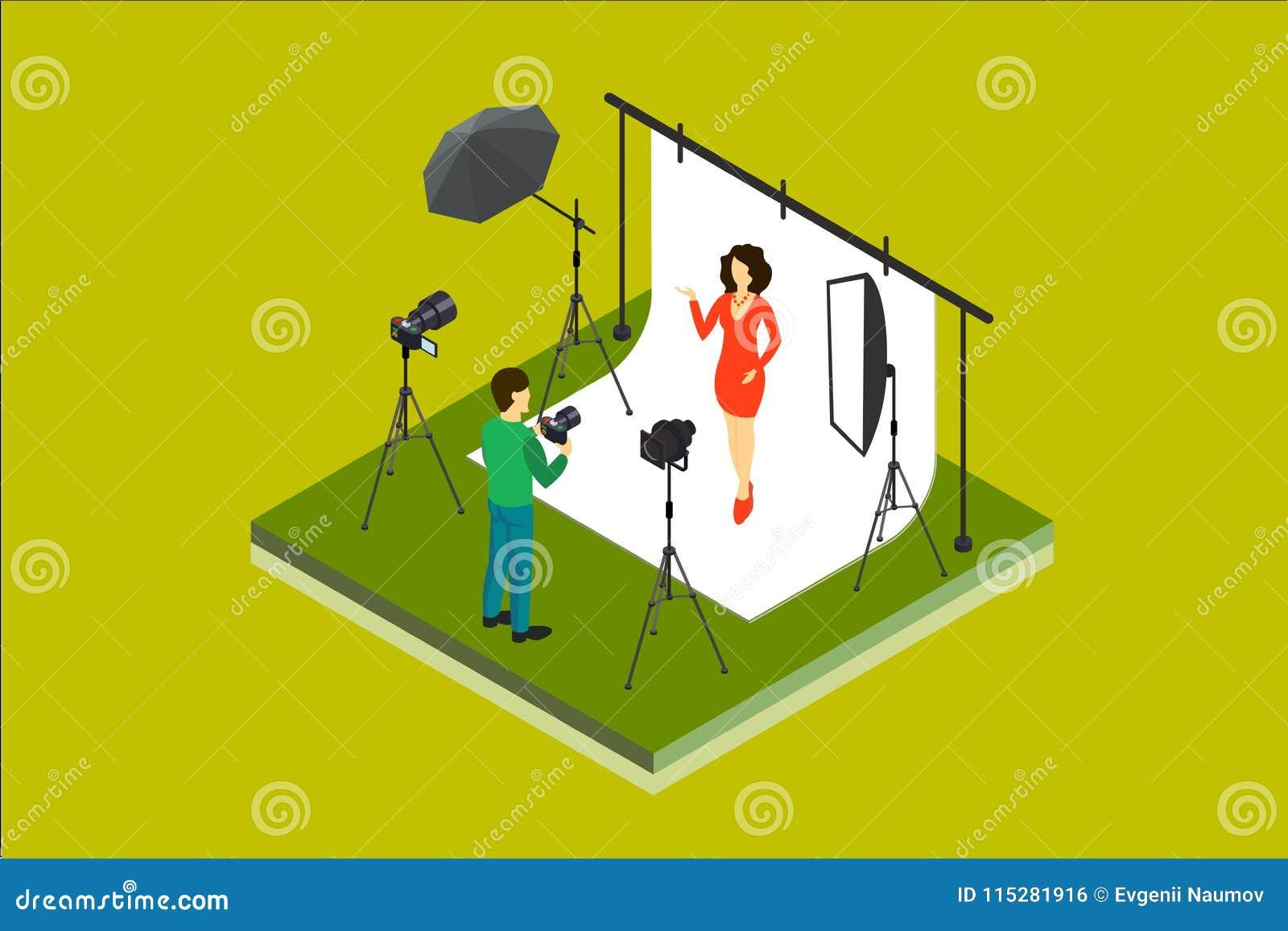 Fotograf Shooting Model im Studio Fotoausrüstungsdigitalkamera, softbox, Scheinwerfer, Hintergrund, Regenschirm isometrisch