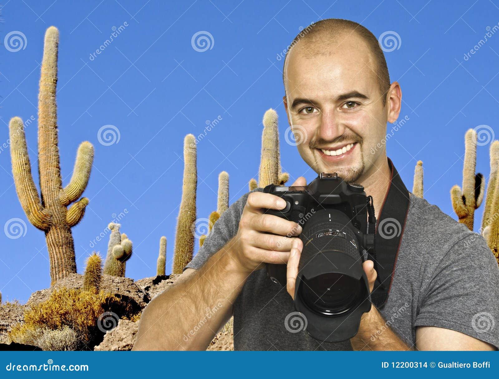 Fotograf- und Kaktushintergrund