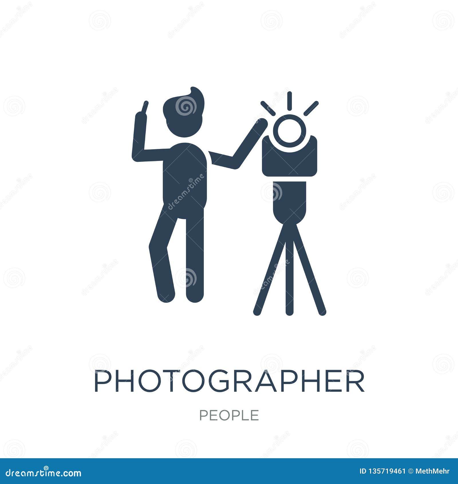 Fotografarbeitsikone in der modischen Entwurfsart Fotografarbeitsikone lokalisiert auf weißem Hintergrund Fotograf Working
