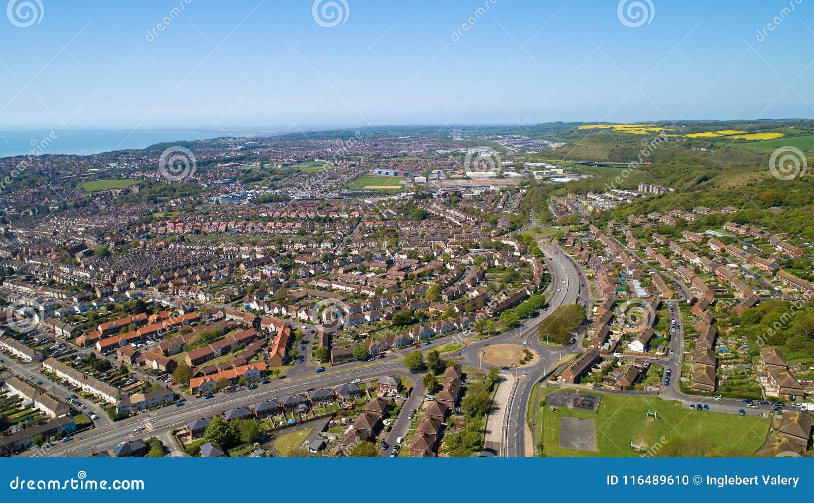 Fotografia aérea da cidade de Folkestone, Kent, Inglaterra