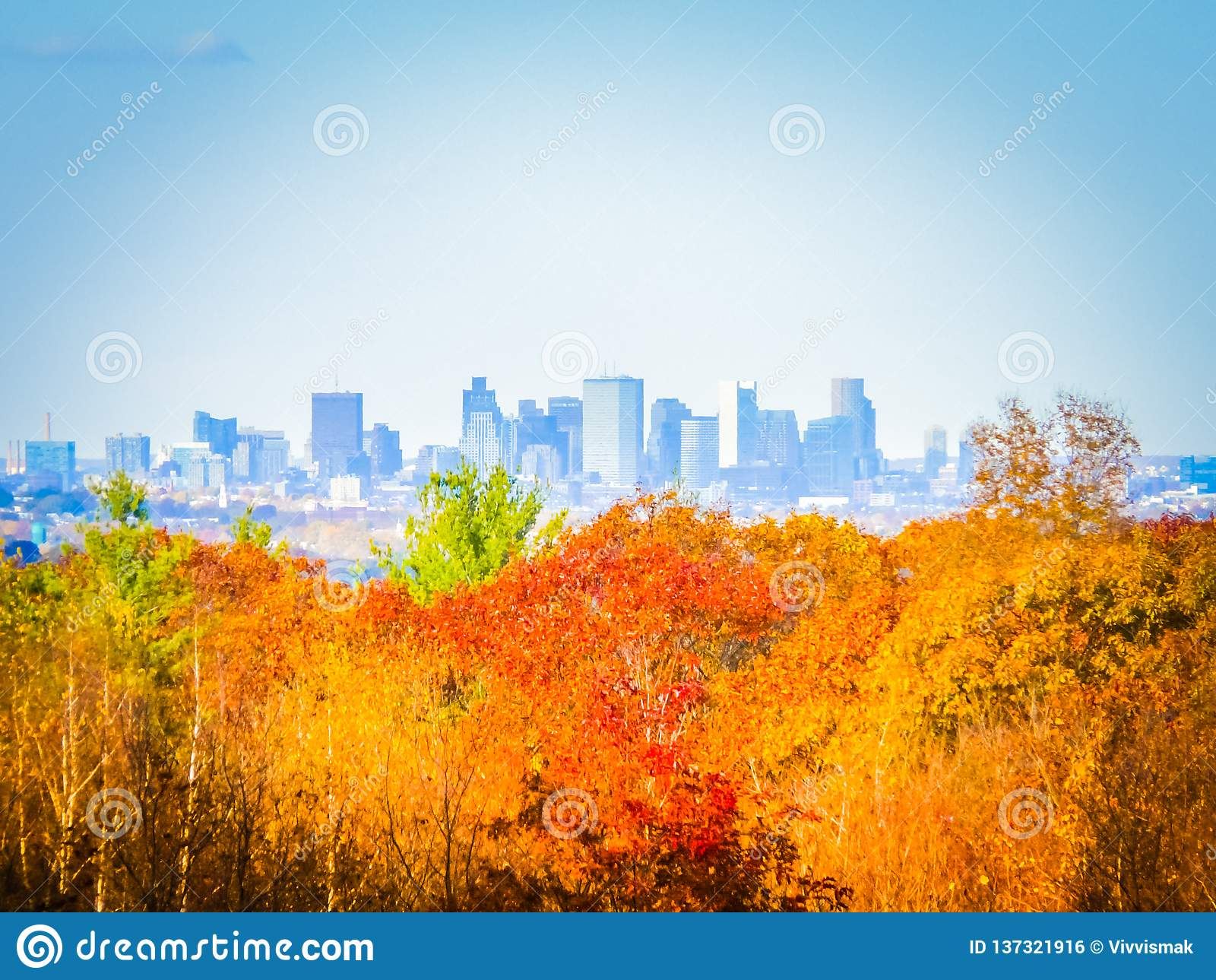 Fotografia dell autunno dell orizzonte di Boston un giorno soleggiato