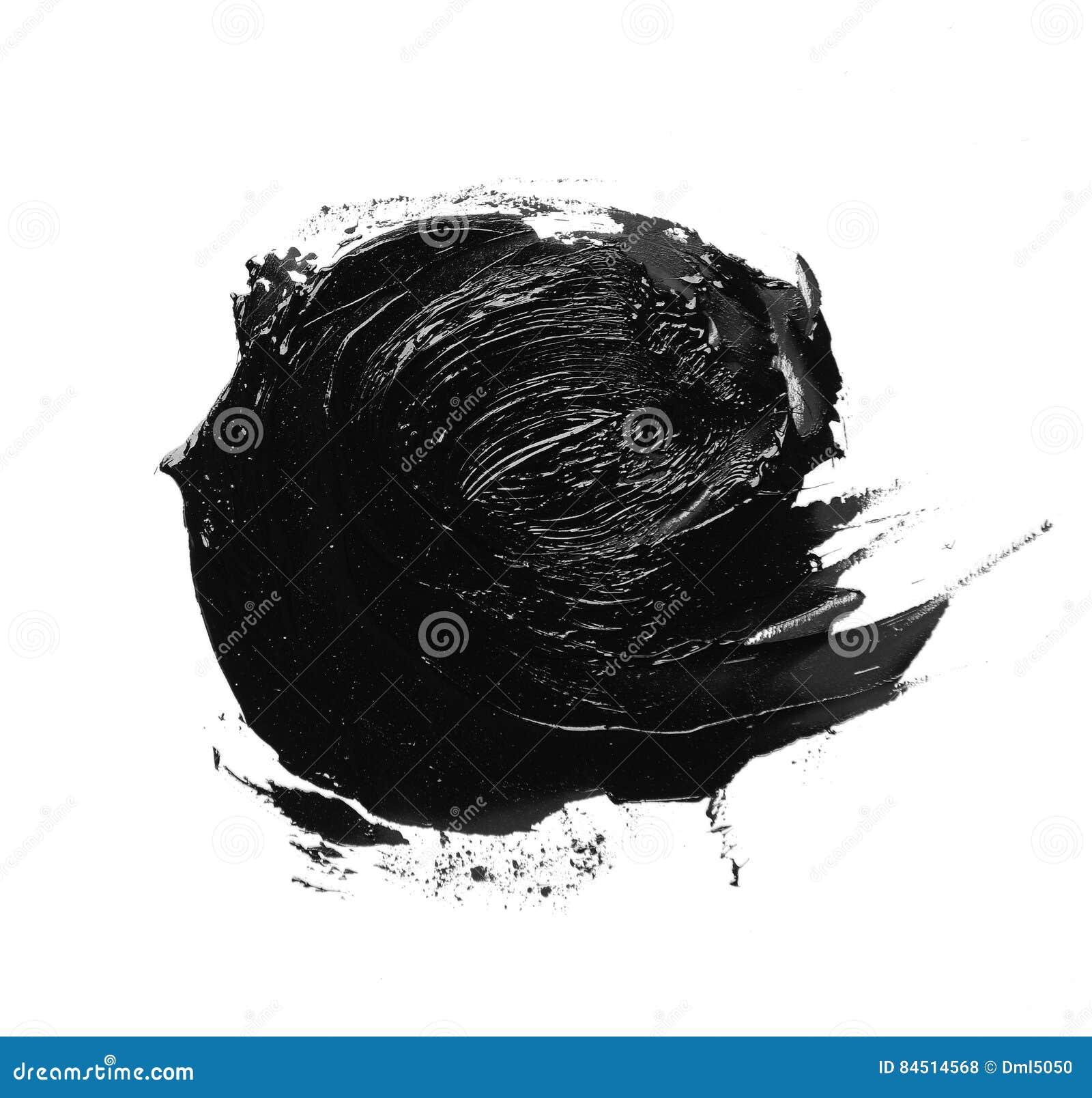 Fotografia kolorowego czerni muśnięcia uderzenia nafciana farba odizolowywająca