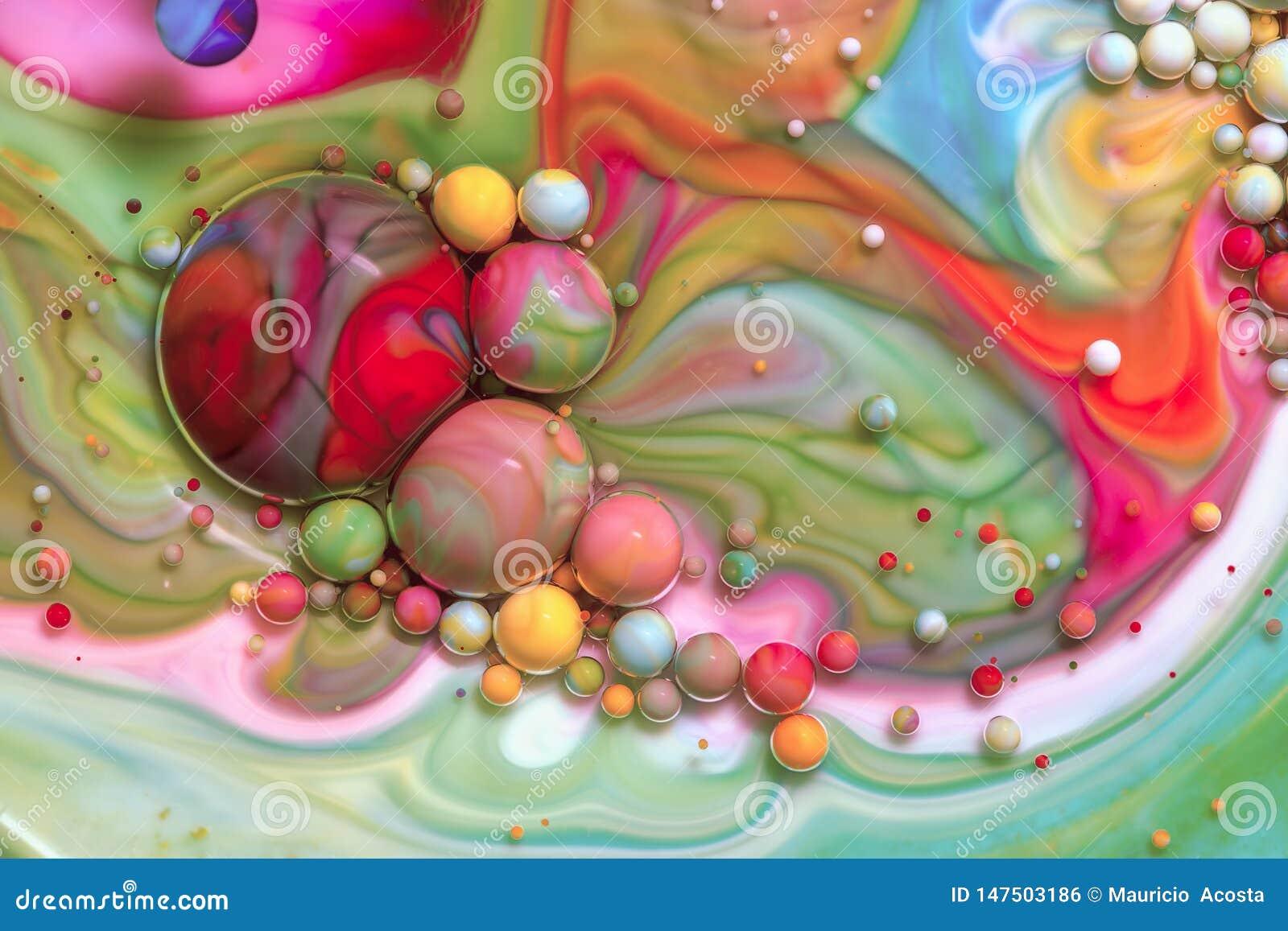 Fotografia macro das bolhas coloridas LXIX
