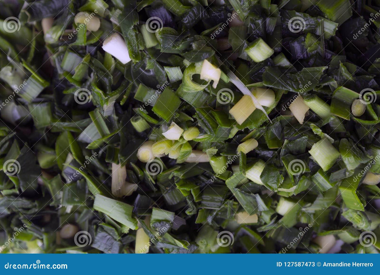 Fotografia macro de uma placa dos alho-porros