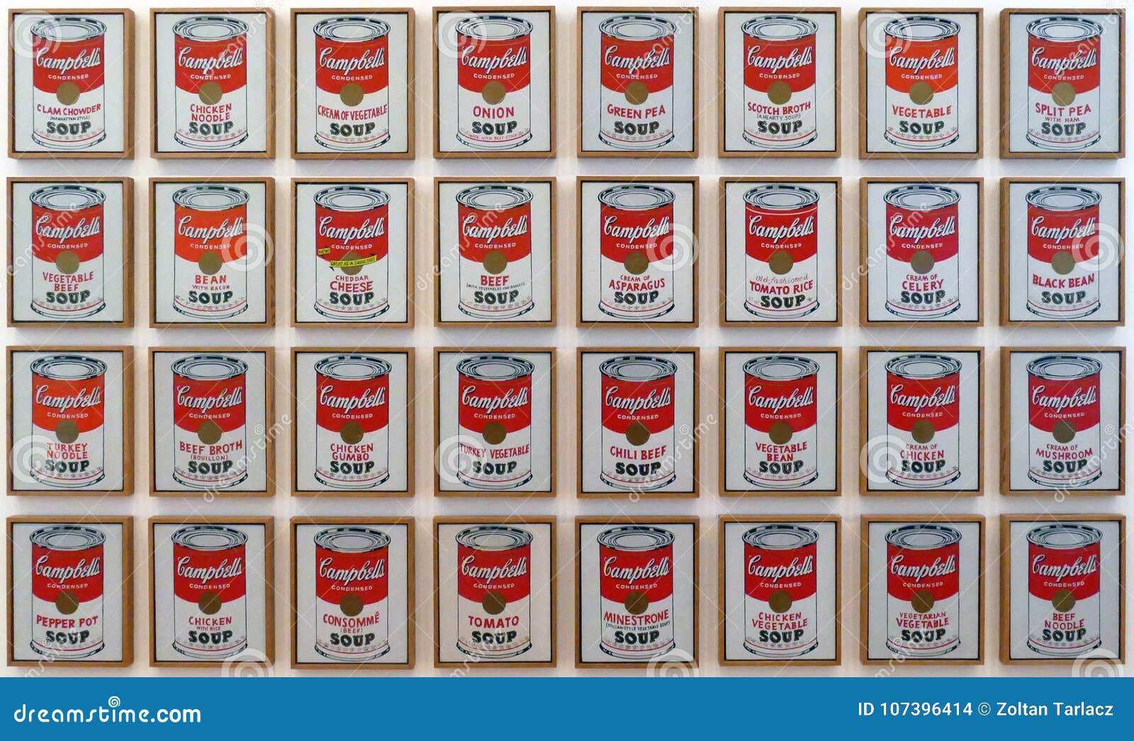 Fotografia oryginałów obrazów ` Campbell ` s polewka Konserwuje ` Andy Warhol