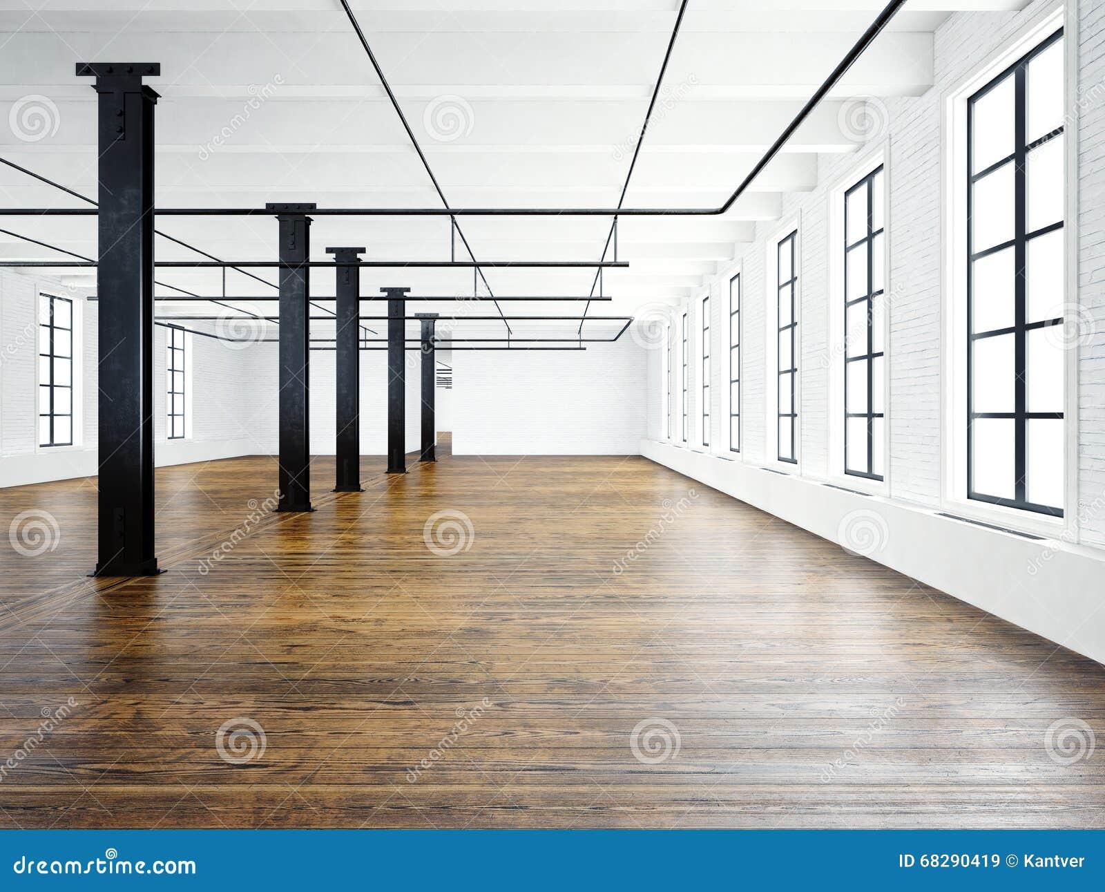Fotografia pusty muzealny wnętrze w nowożytnym budynku Otwartej przestrzeni loft opróżnij ściany białe Drewniana podłoga, czarni