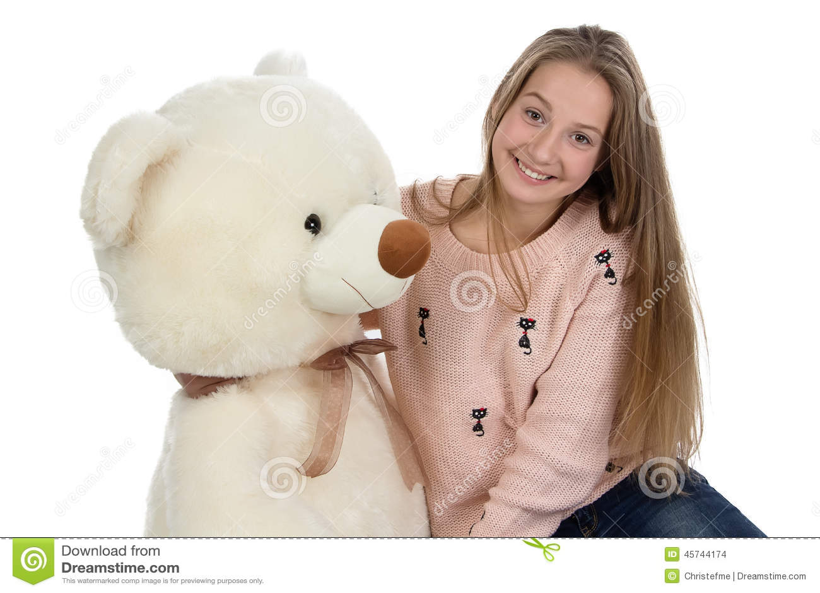 Fotografia szczęśliwa nastoletnia dziewczyna z misiem