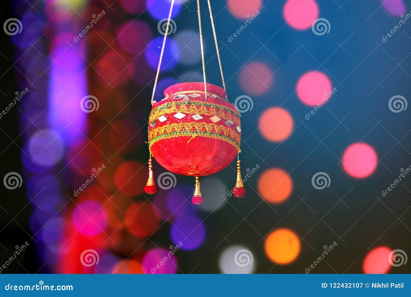 Fotografie des Dahis HANDI auf gokulashtami Festival in Indien, das Lord Shri Krishna-` s Geburtstag ist