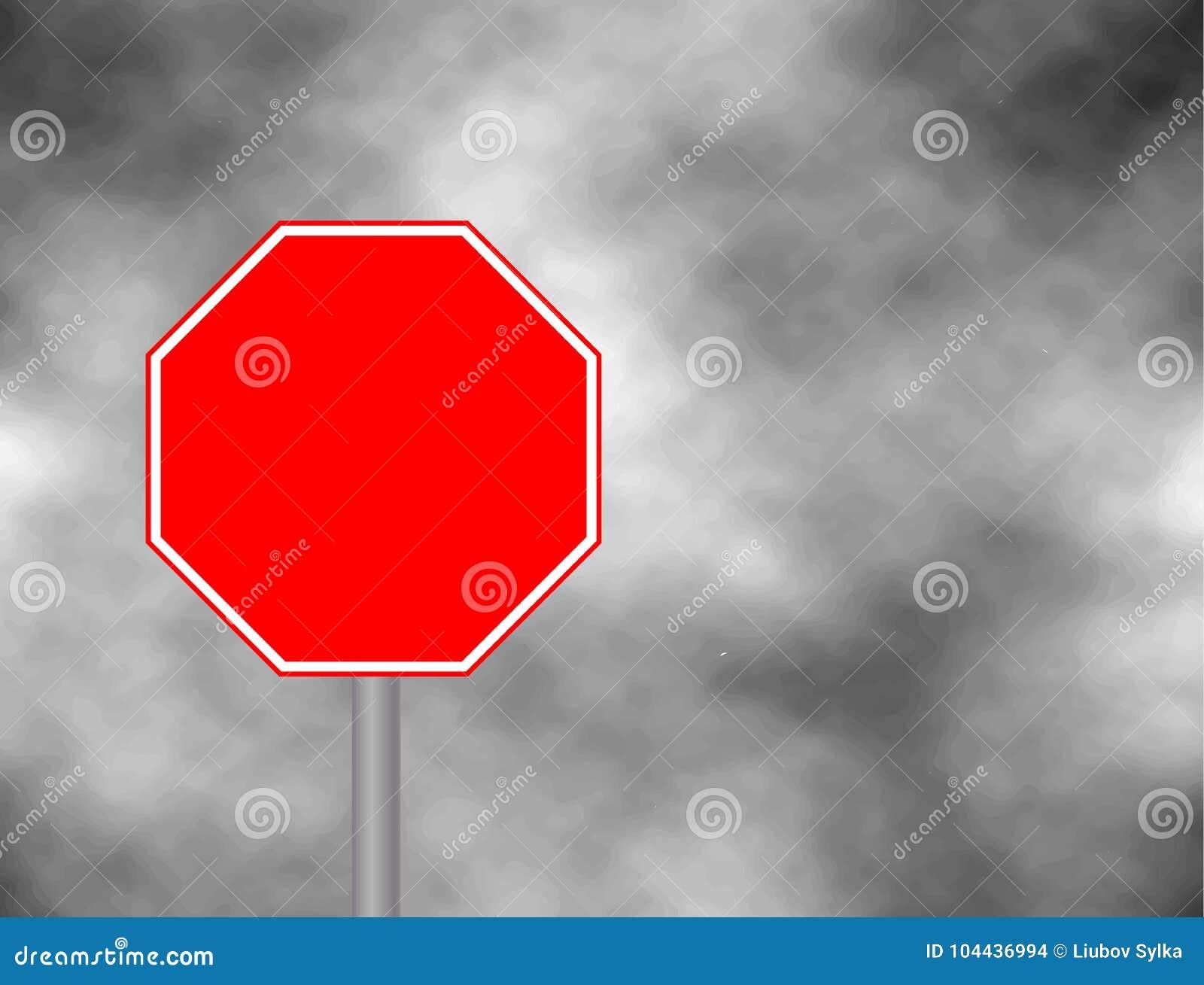 Fotografie eines leeren roten Verkehrsstoppschildes mit dem rechteckigen Weiß eingefaßt Textbuchstaben sind entfernt worden Stopp