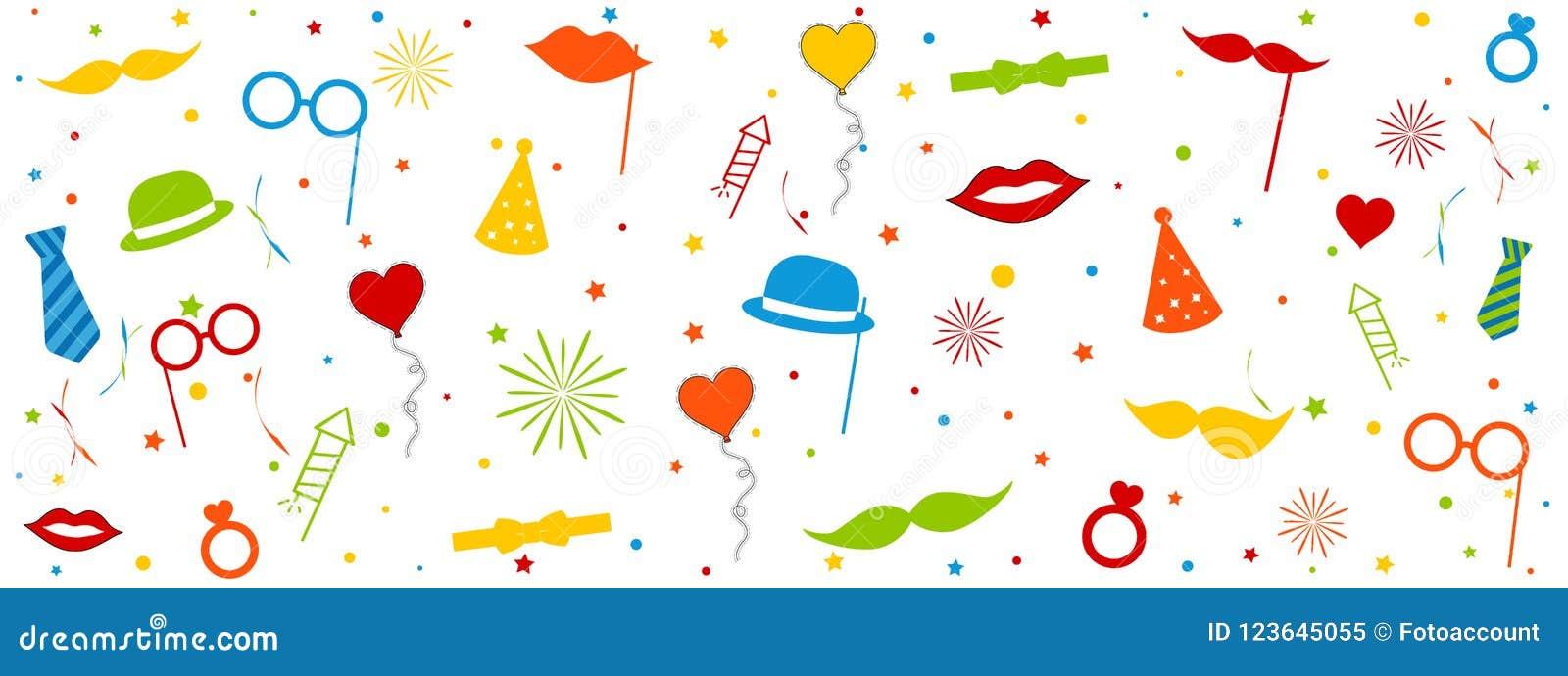 Fotografii budka Poślubia Karnawałowe wyposażenie ikony Z okręgami I gwiazdami Odizolowywającymi Na Białym tle - Kolorowa Wektoro