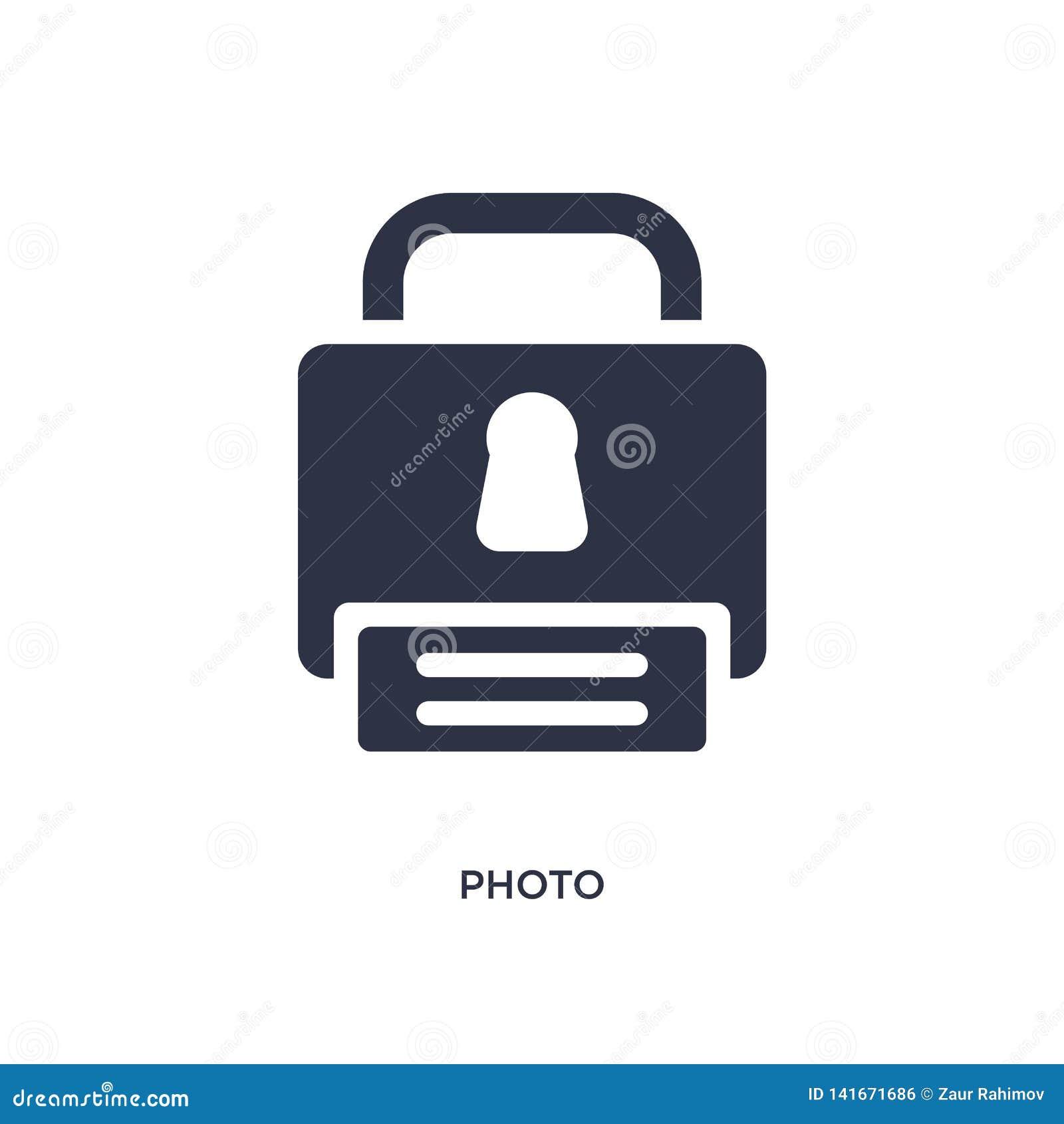 Fotografii ikona na białym tle Prosta element ilustracja od gdpr pojęcia