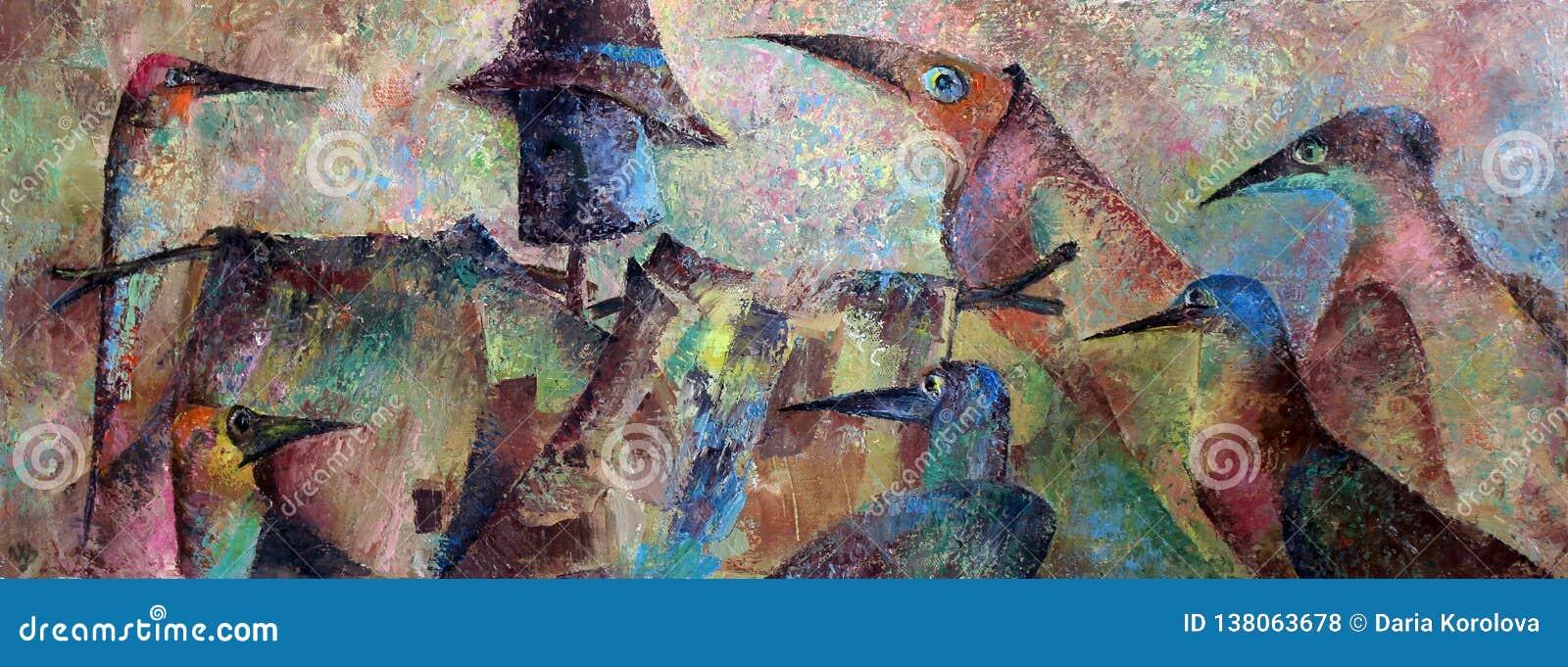 Fotografikölgemälde auf Segeltuch vögel