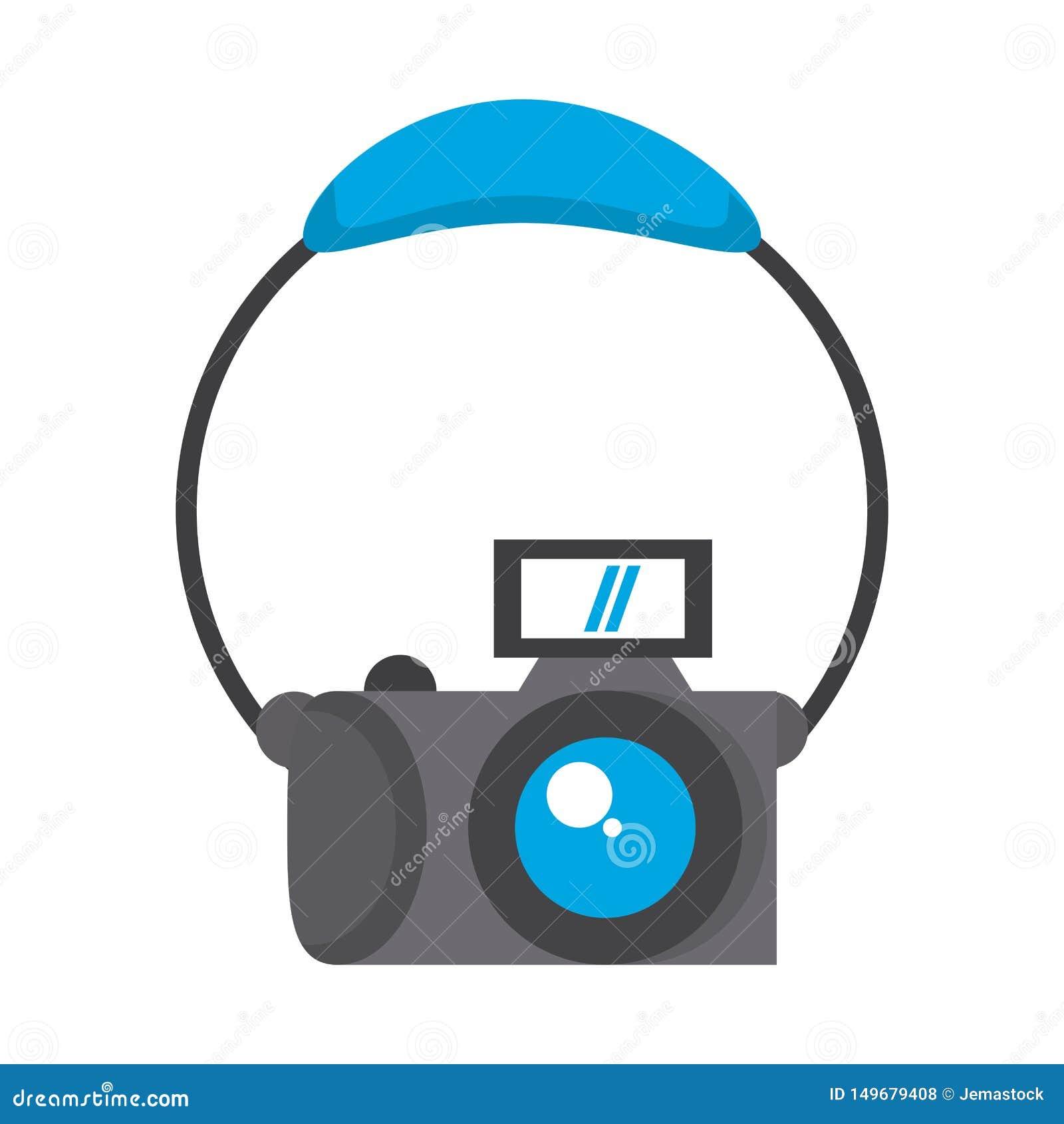 Fotografisch camera en hoofdtelefoonsbeeldverhaal