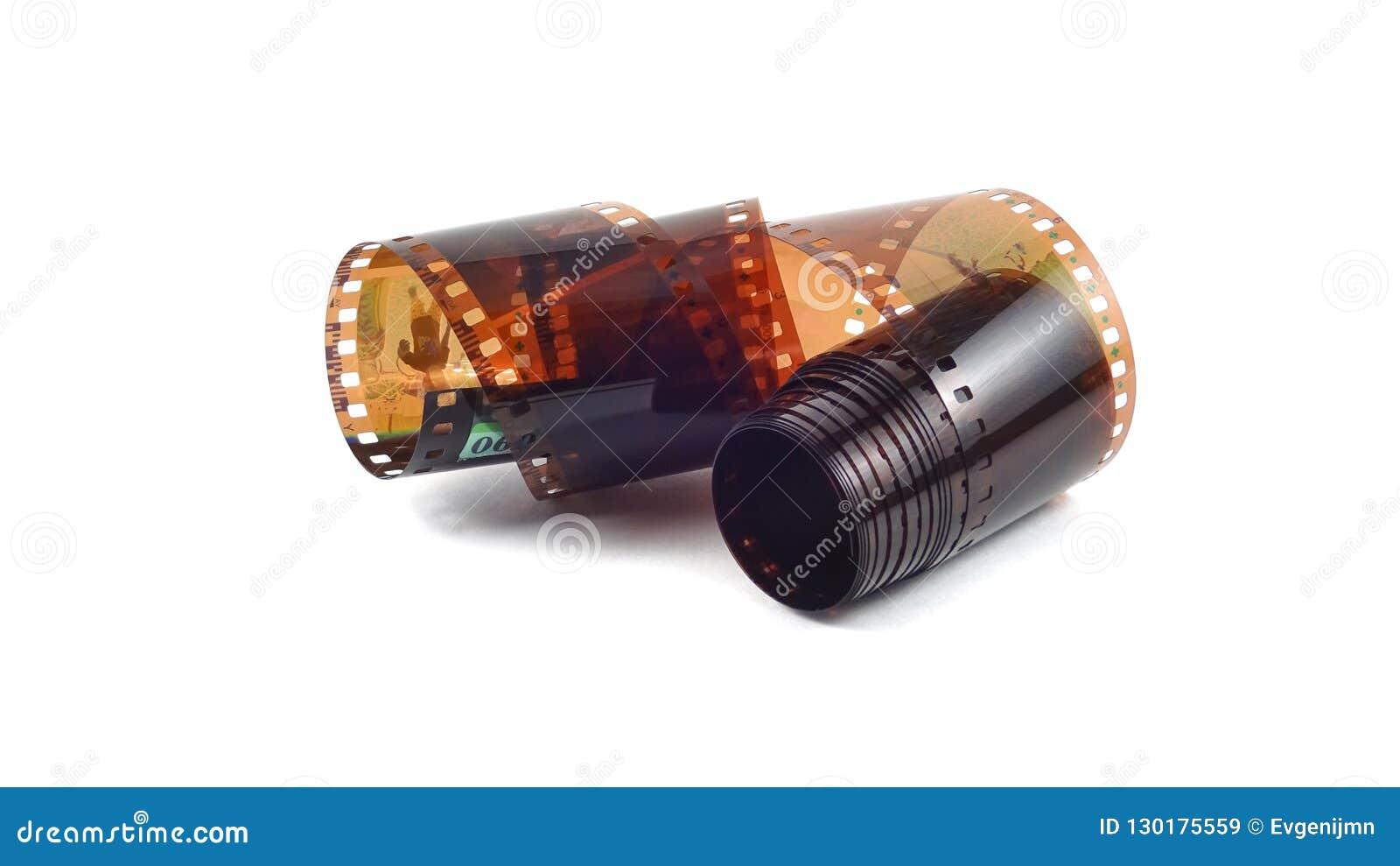 Fotografisk film på en vit bakgrund