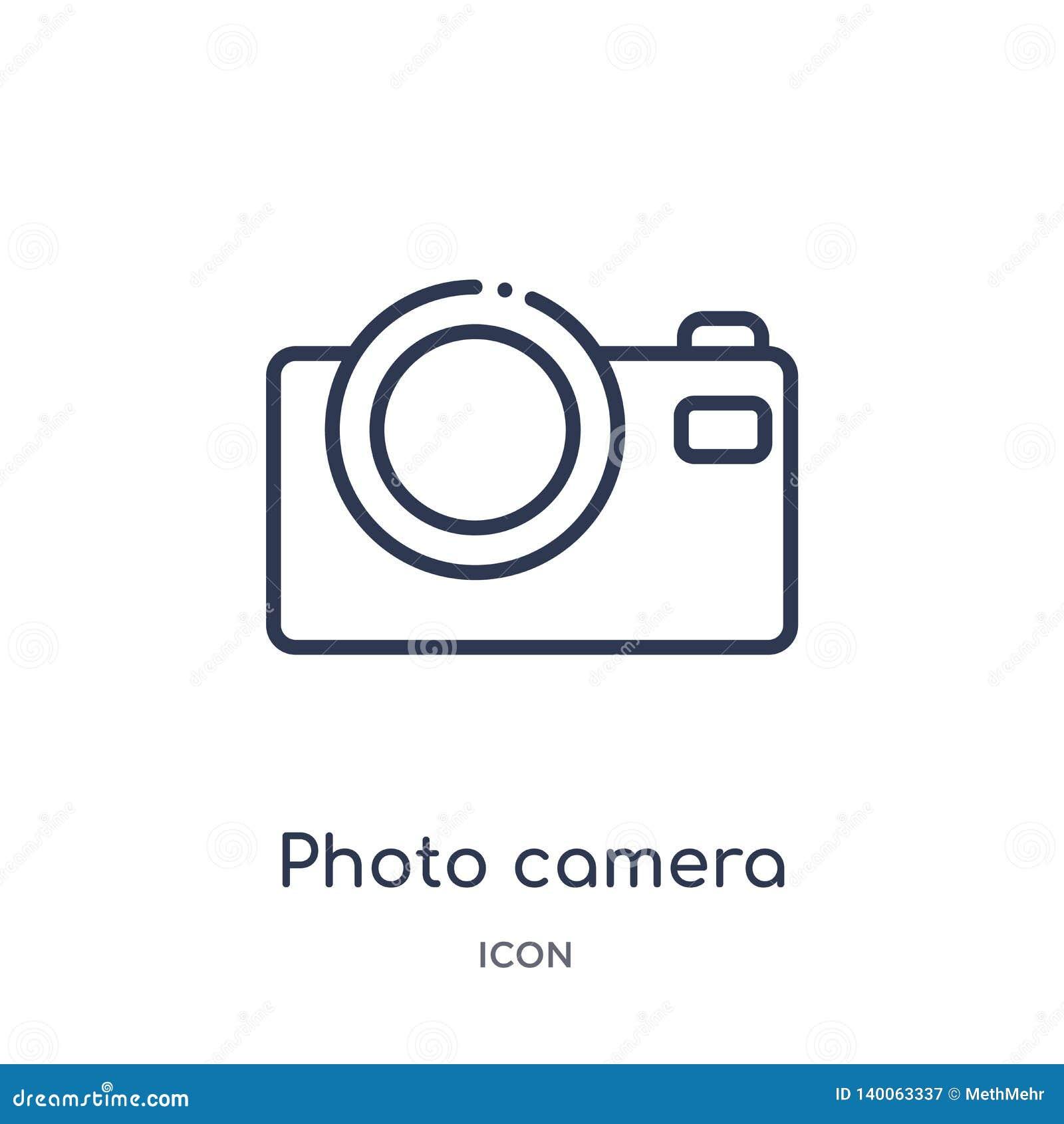 Fotokamerasymbol från musik och massmediaöversiktssamling Tunn linje fotokamerasymbol som isoleras på vit bakgrund