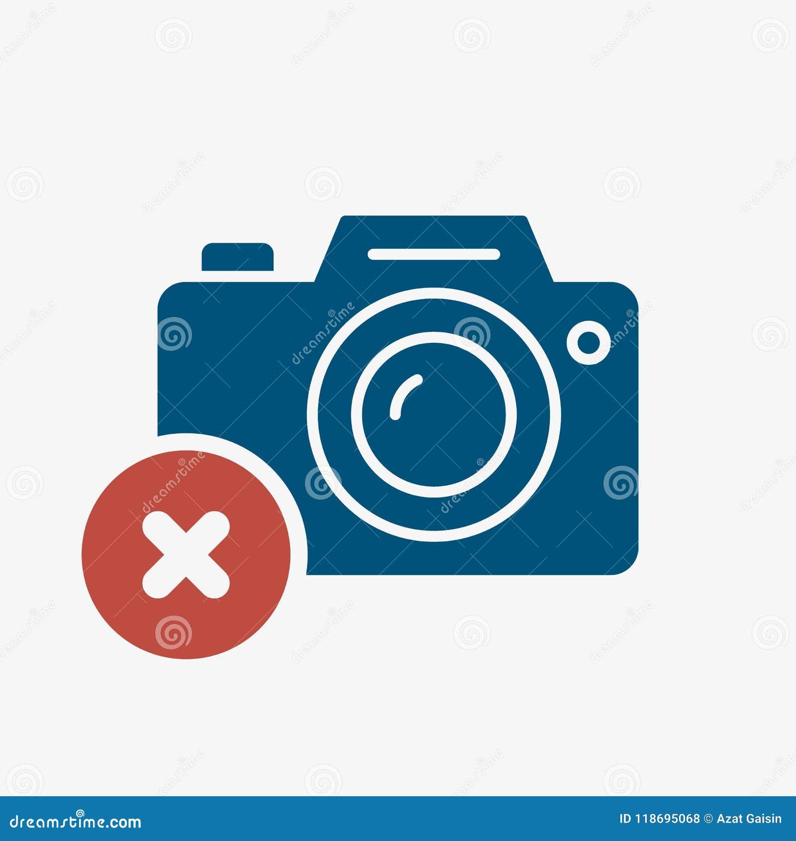 Fotokamerasymbol, teknologisymbol med annulleringstecknet Fotokamerasymbolen och stänger, tar bort, tar bort symbol
