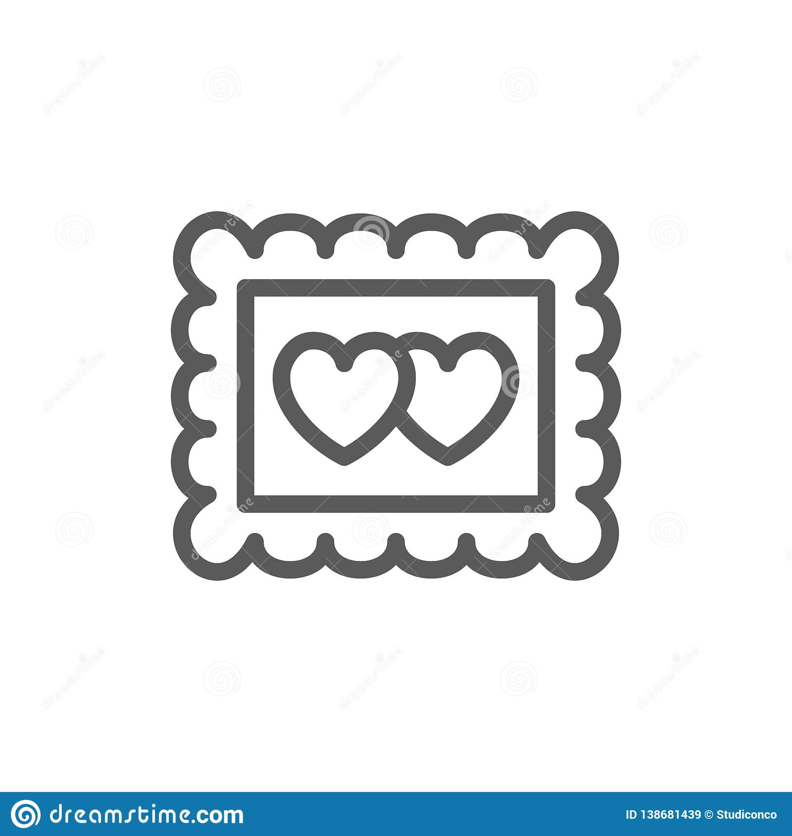 Fotorahmen mit zwei Herzen, Valentinstaglinie Ikone